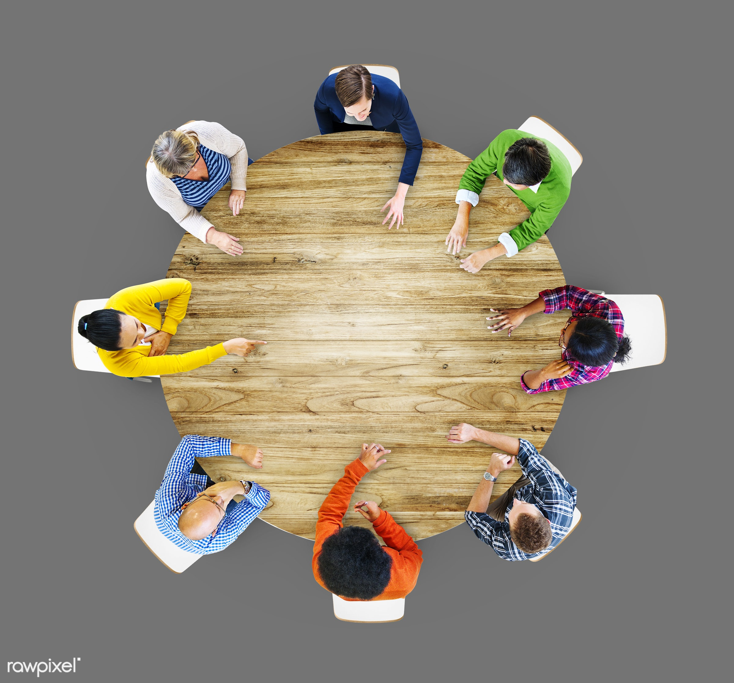 aerial view, african descent, asian ethnicity, blank, brainstorming, casual, circle, colorful, communication, community,...