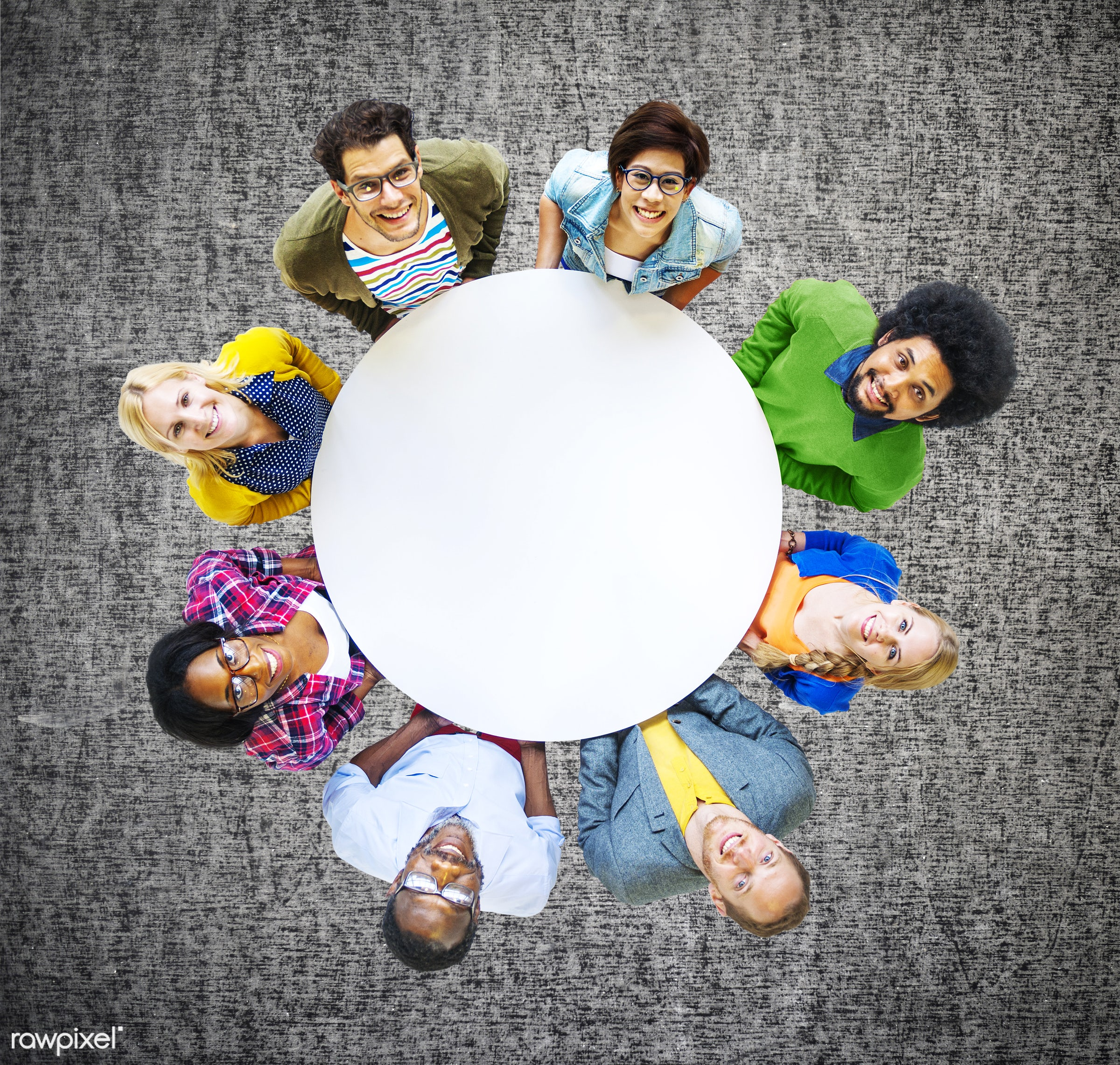 aerial view, african descent, asian ethnicity, blank, carpet, casual, cheerful, circle, colorful, communication, community,...