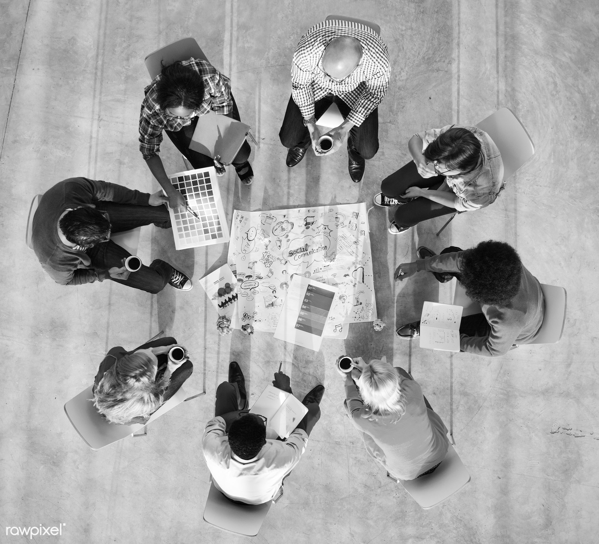 aerial view, brainstorming, casual, colleagues, color swatch, colorful, communication, conference, cooperation, coworkers,...