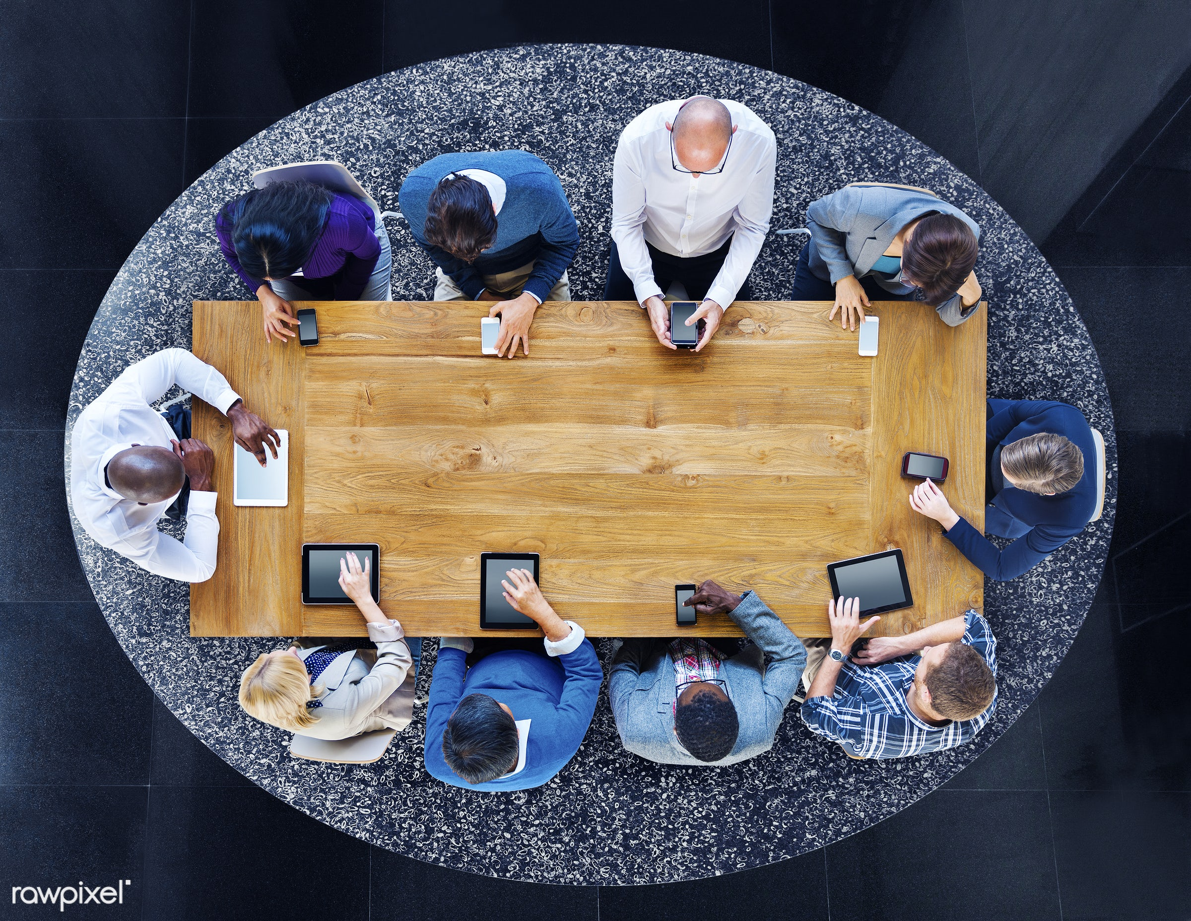 aerial view, circle, colleague, colorful, communication, community, computer, copy space, device, digital, digital device,...
