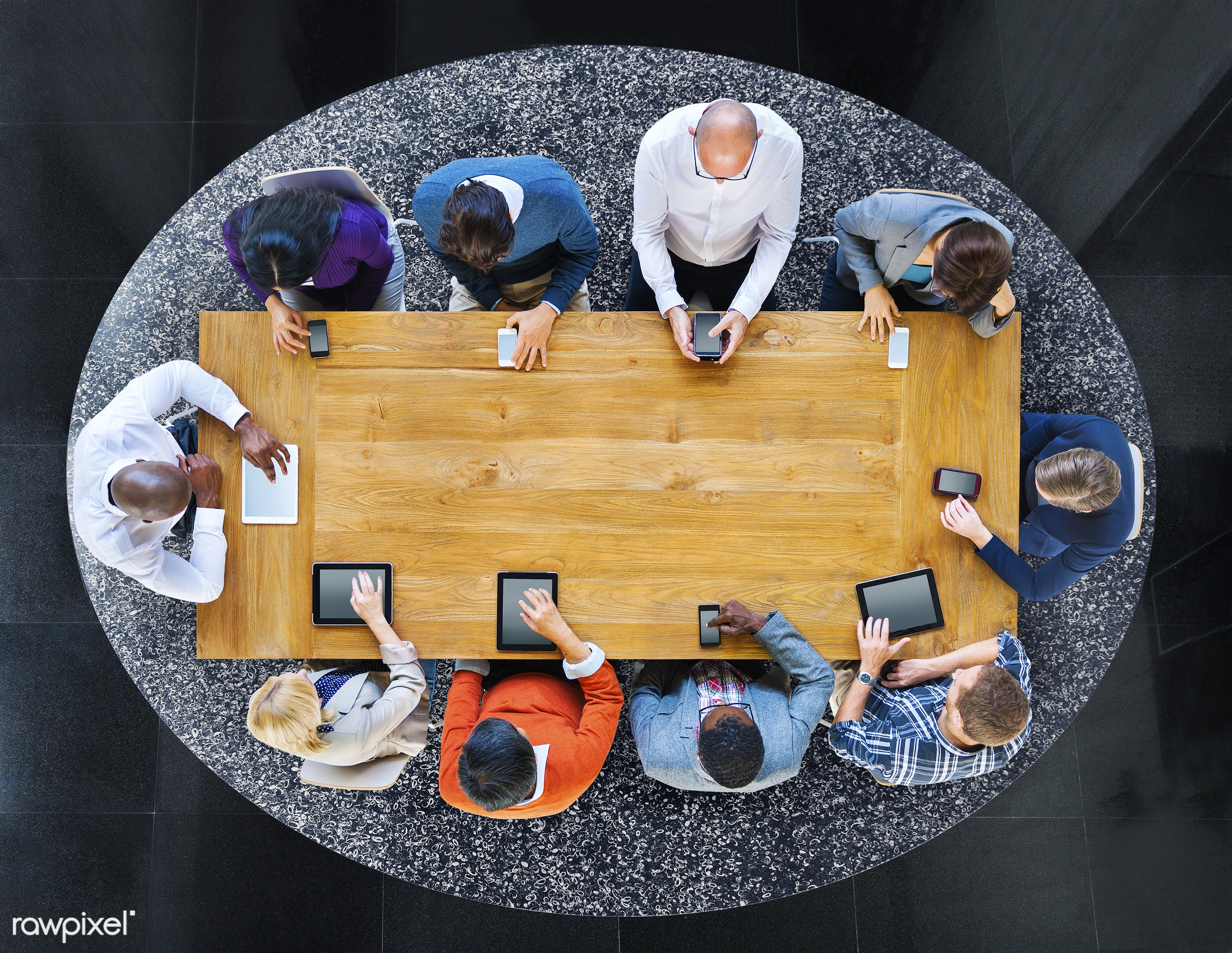 aerial view, circle, colleague, colorful, communication, community, computer, copy space, digital device, digital tablet,...