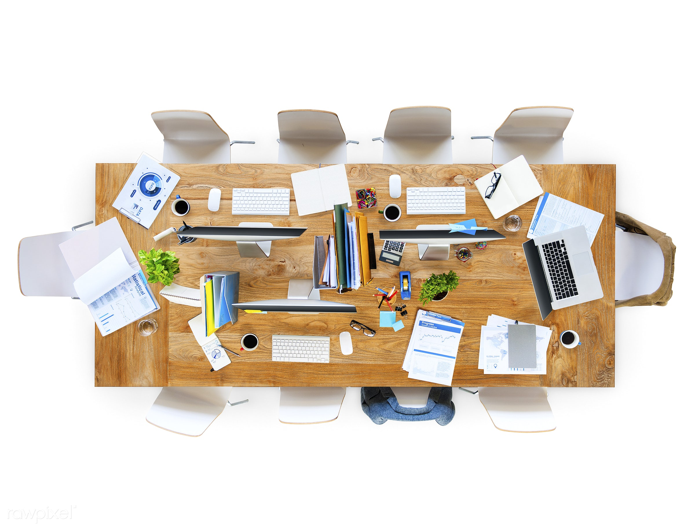 contemporary, adhesive note, aerial view, business, chair, coffee, computer, desk, devices, directly above, documents,...