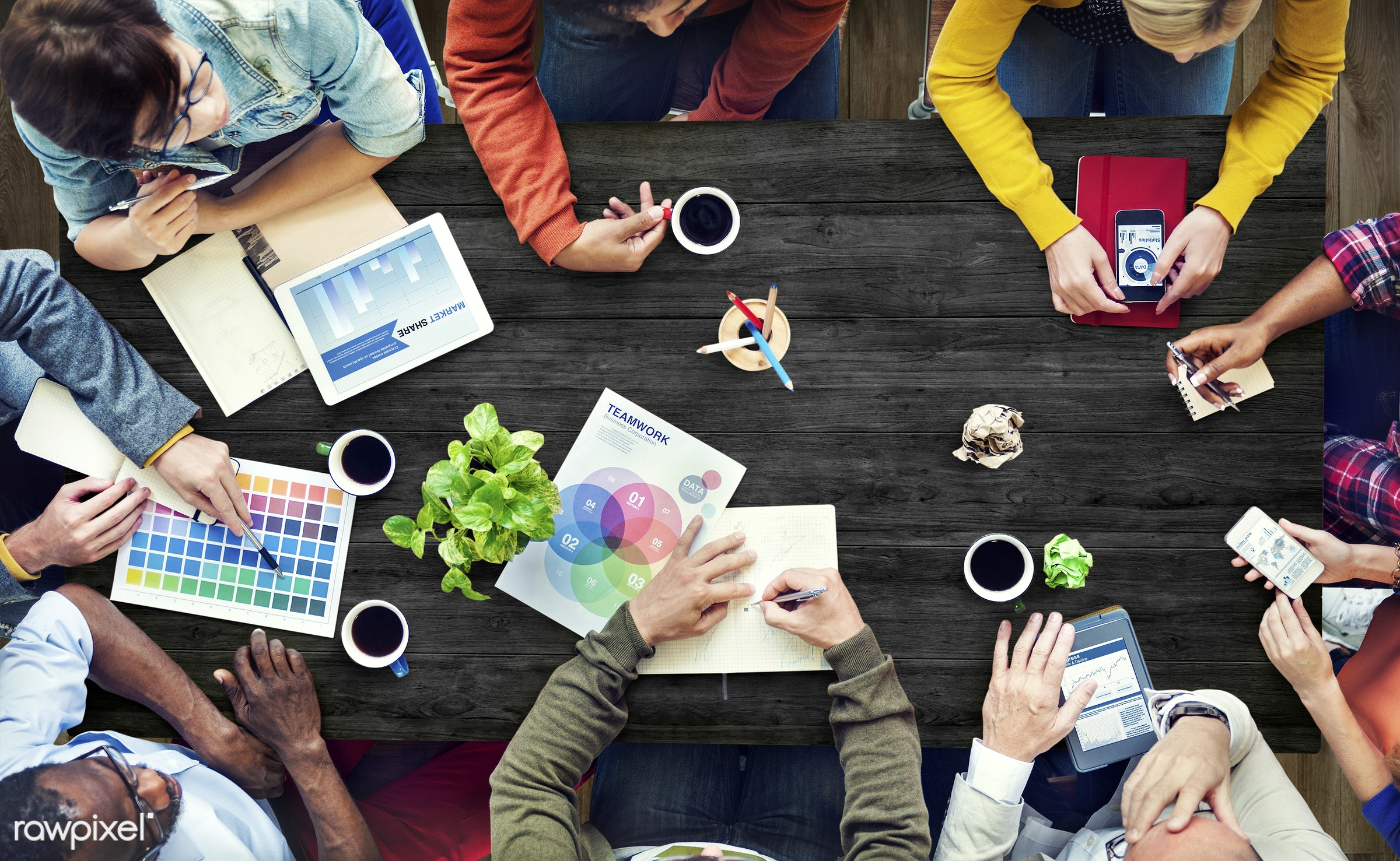Group of diverse designers having a meeting - architecture, brainstorm, business, business people, businessman, colleagues,...