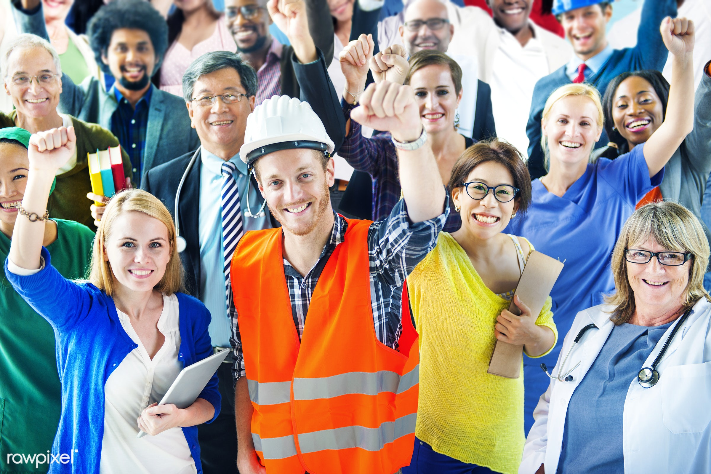 Group of diverse occupations people - adult, african american, african descent, architecture, asian, black, business,...