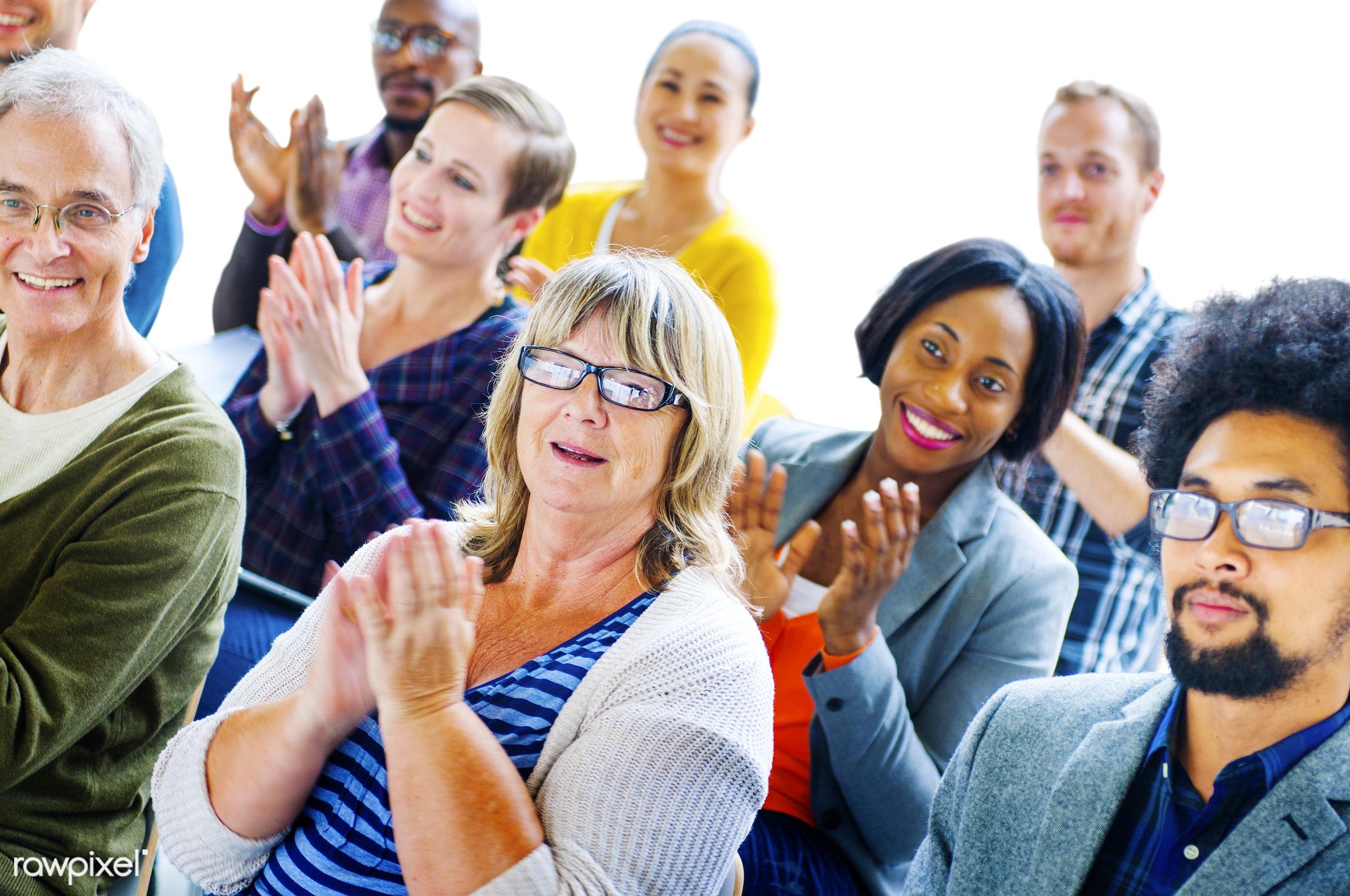 achievement, african descent, applauding, applause, appreciation, asian ethnicity, audience, business people, celebration,...