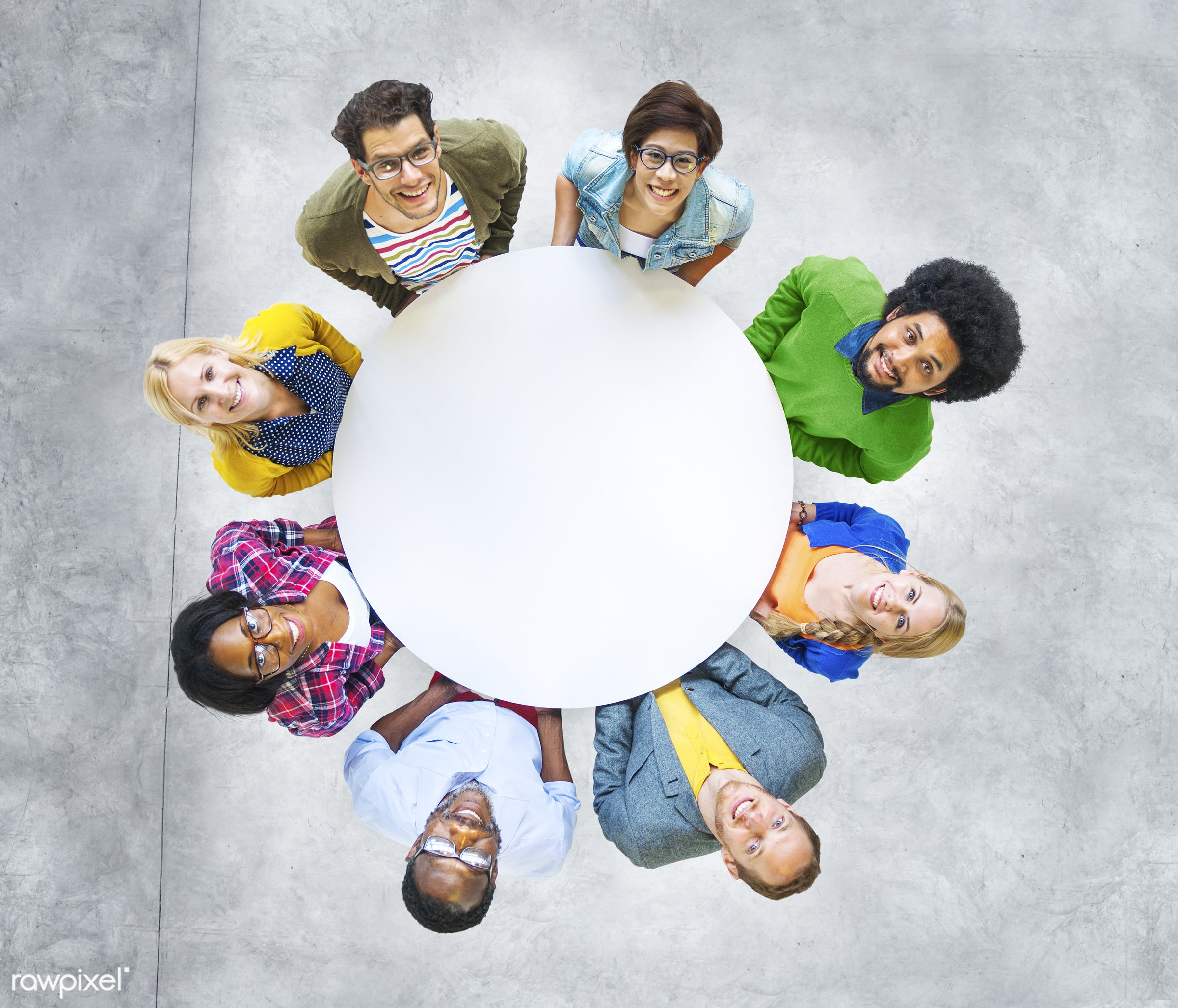 aerial view, african descent, asian ethnicity, casual, cement, cement floor, cheerful, circle, colourful, community,...