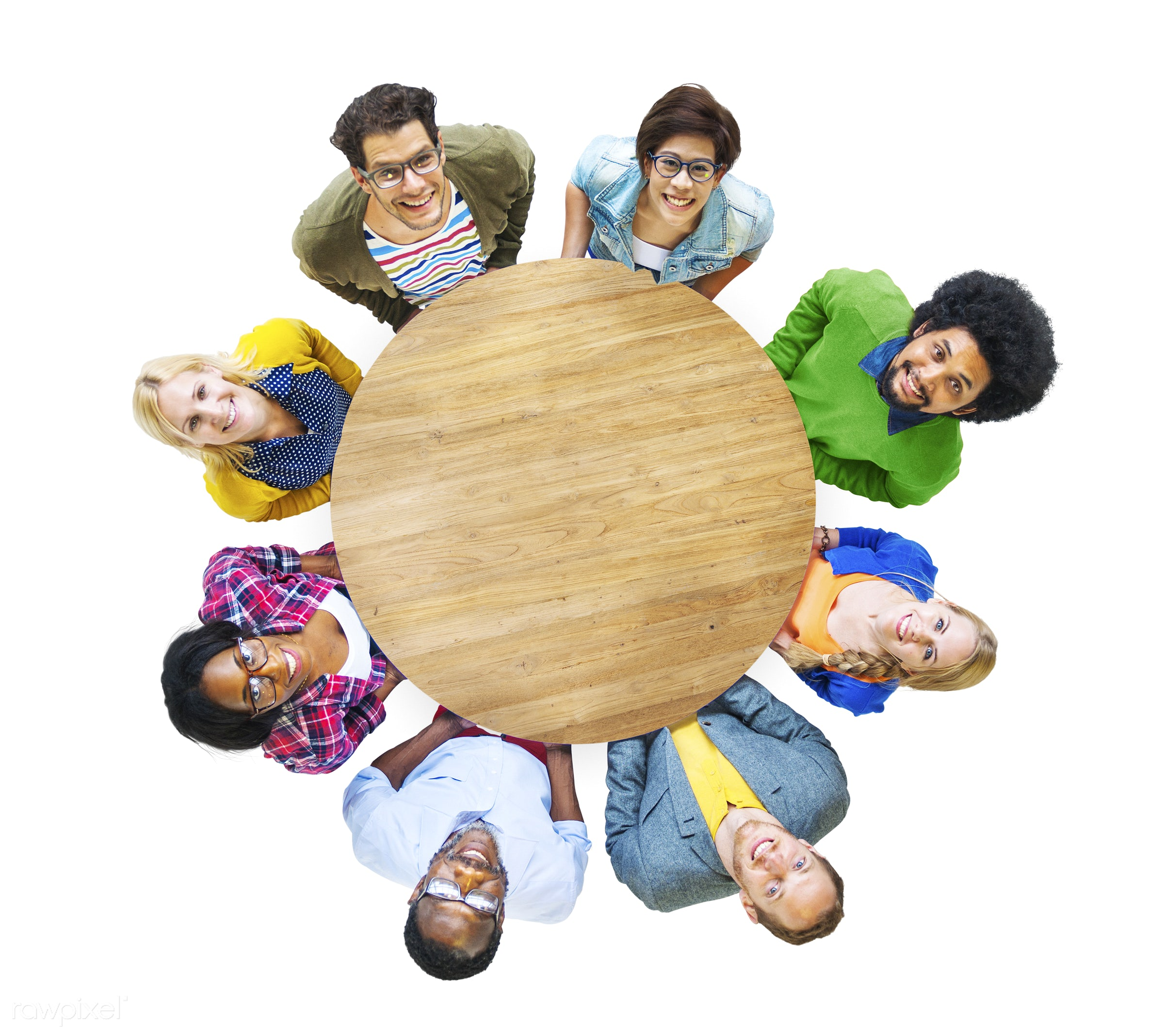 aerial view, african descent, asian ethnicity, casual, cheerful, circle, color, colorful, community, conference, connection...