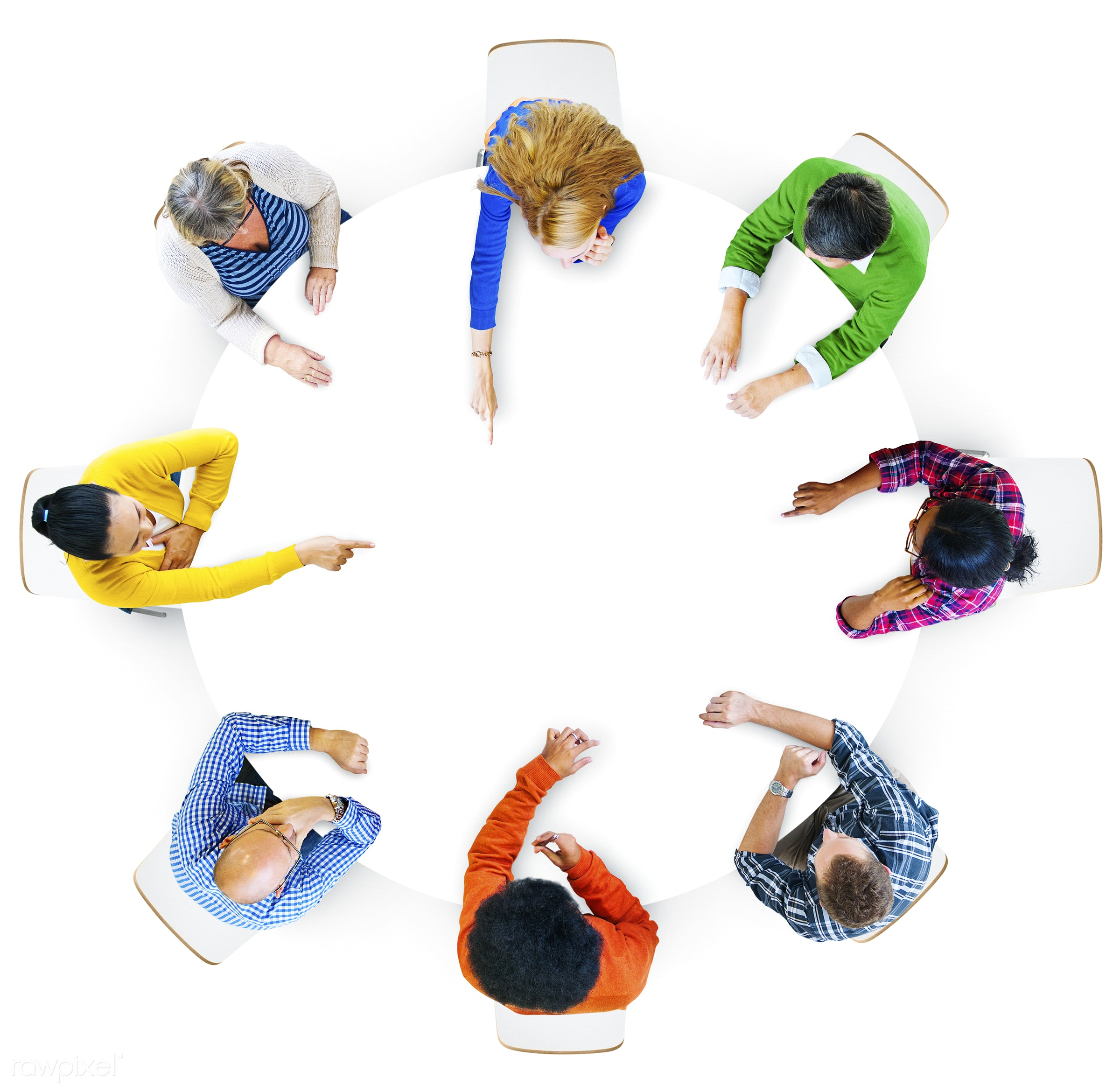 Aerial view of hands pointing in design space area - aerial, brainstorm, copy space, design space, discussion, diverse,...