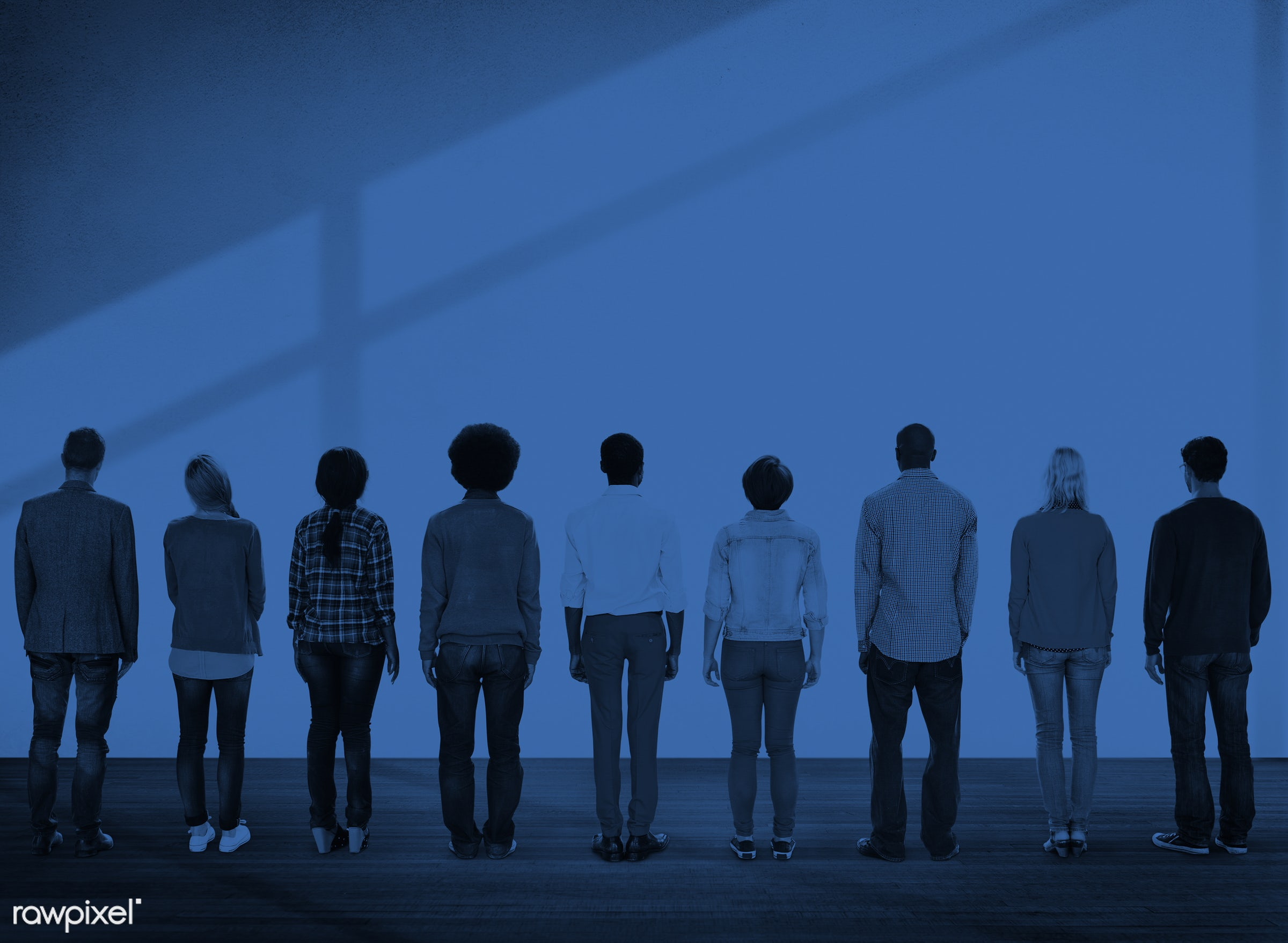 Rear view of diverse people standing together - african american, african descent, architecture, asian, black, caucasian,...