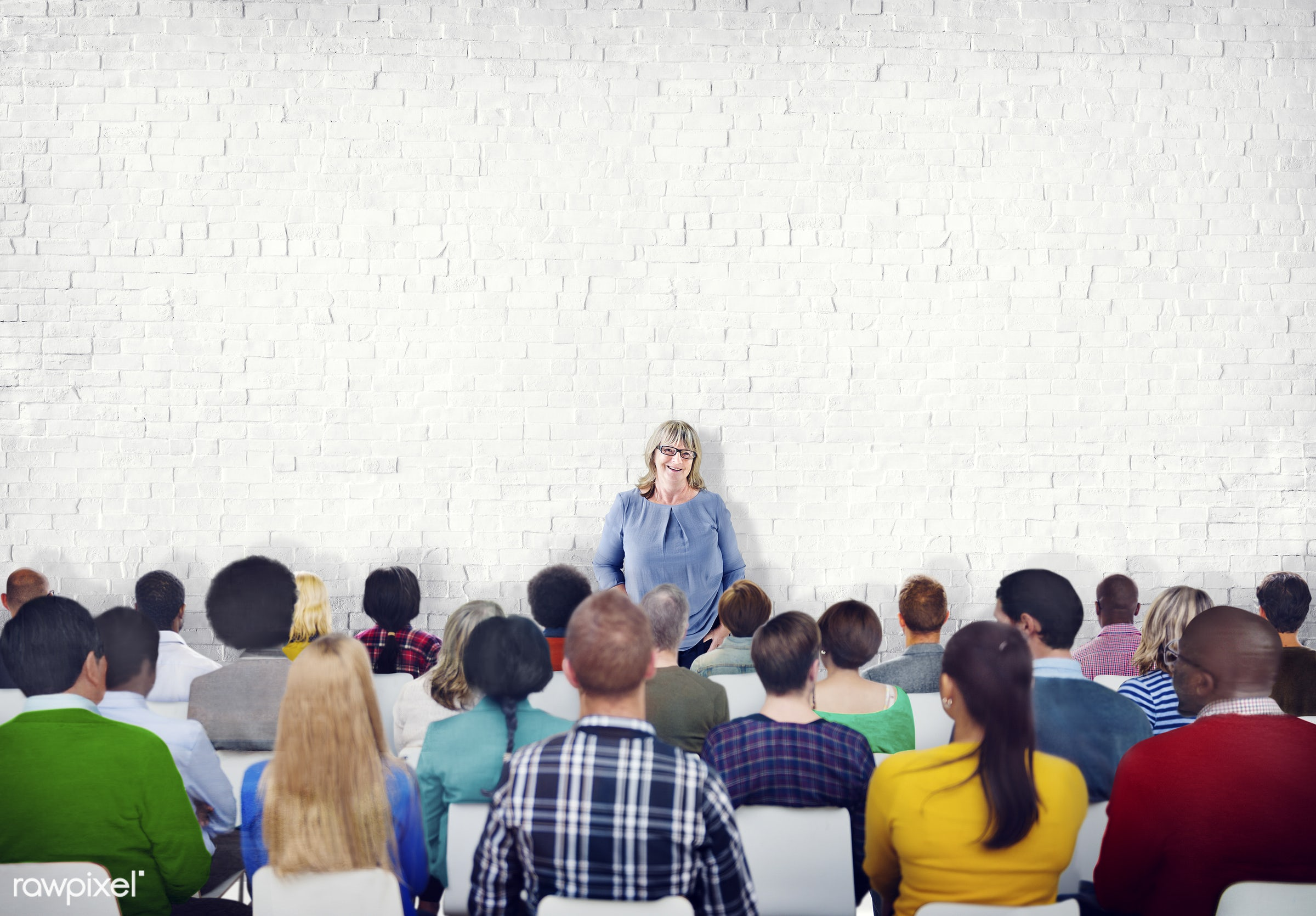 contemporary, white, audience, brick wall, bricks, business, colleagues, colorful, community, conference, convention, copy...