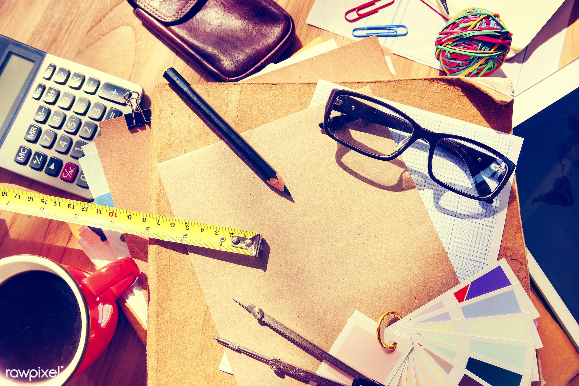 calculator, coffee, color swatch, contemporary, creativity, design, design studio, designer, designer table, document,...
