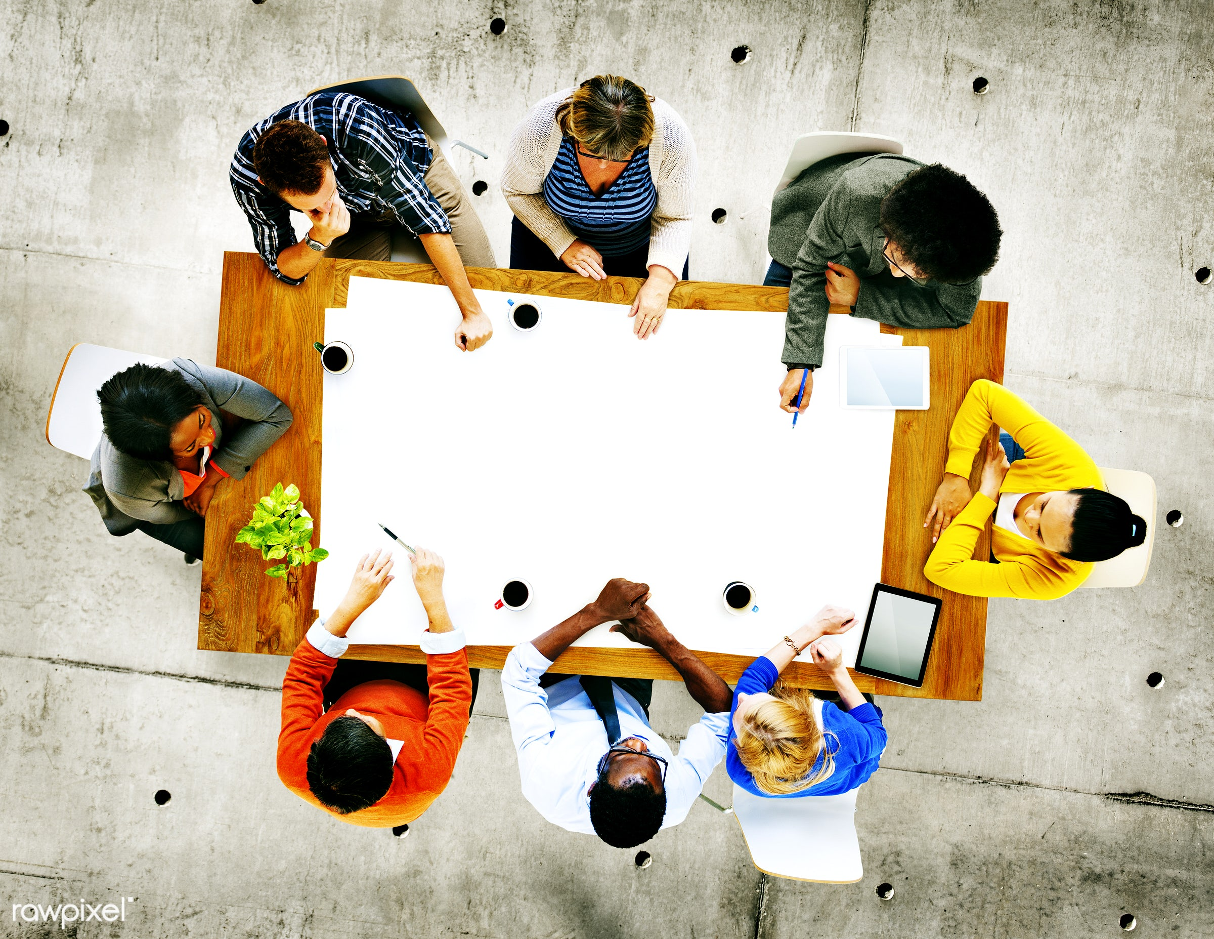 aerial view, african descent, asian ethnicity, blank, brainstorming, casual, colorful, communication, concrete, concrete...