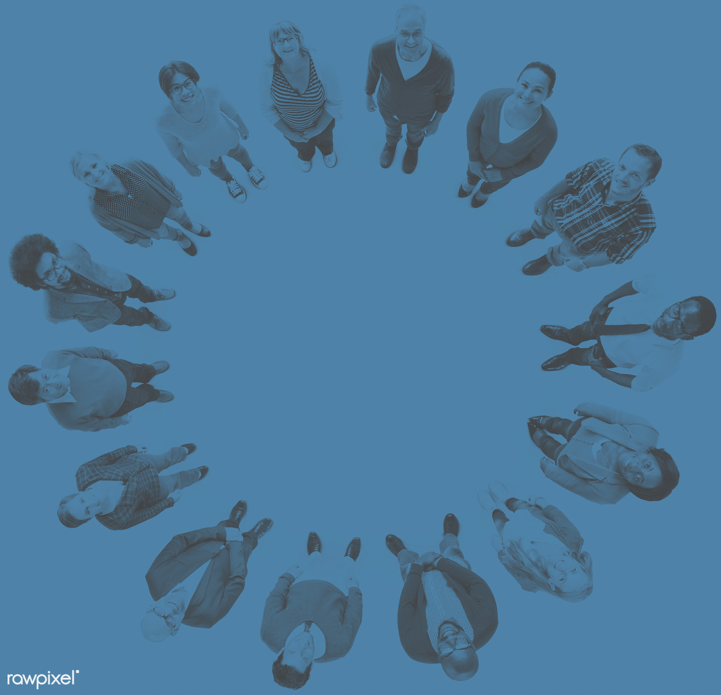 aerial view, african descent, asian ethnicity, blank, blue, casual, circle, colorful, communication, community, connection,...