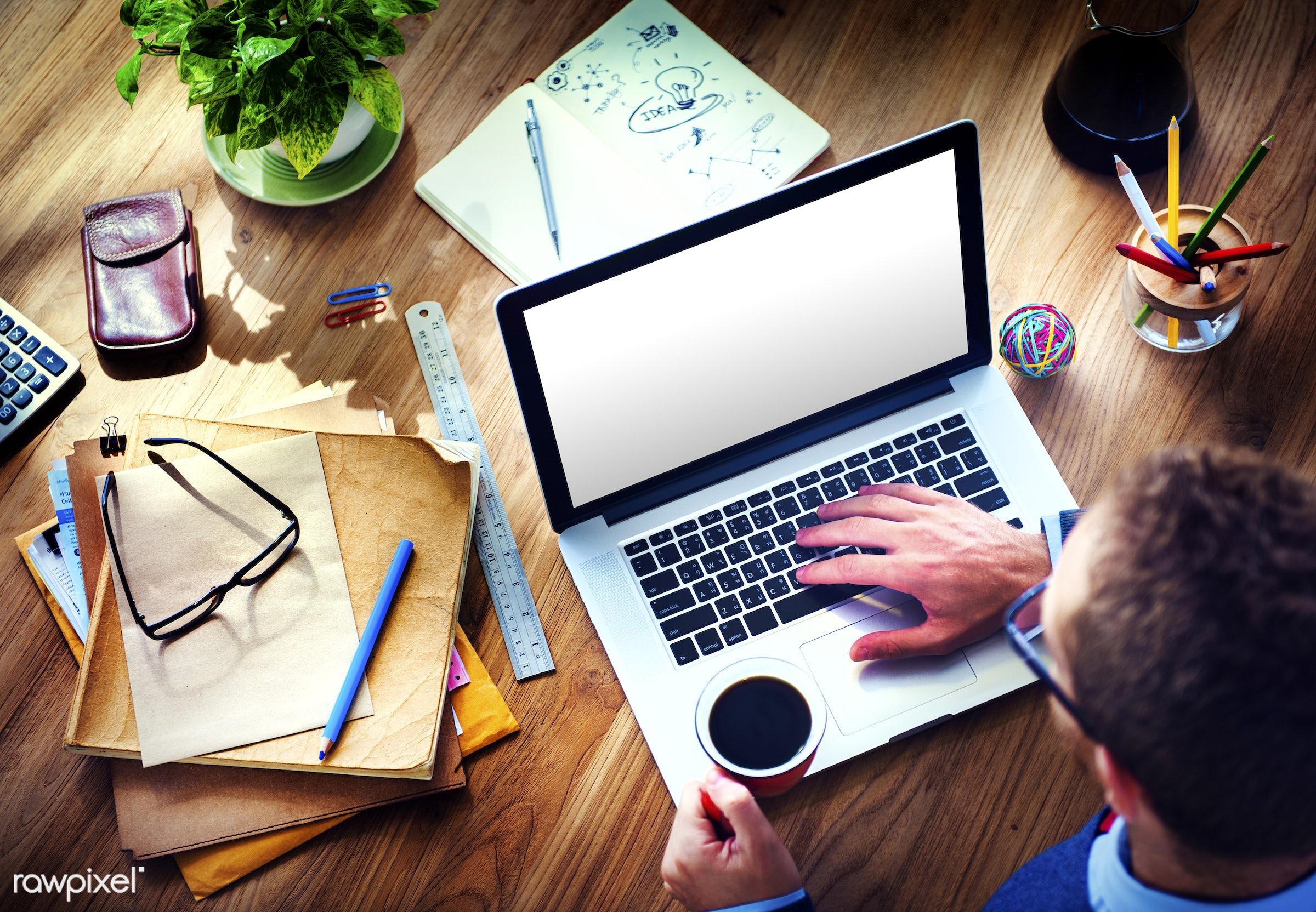 blank, business, coffee, coffee break, computer, copy space, digital device, documents, empty, equipment, files, folders,...