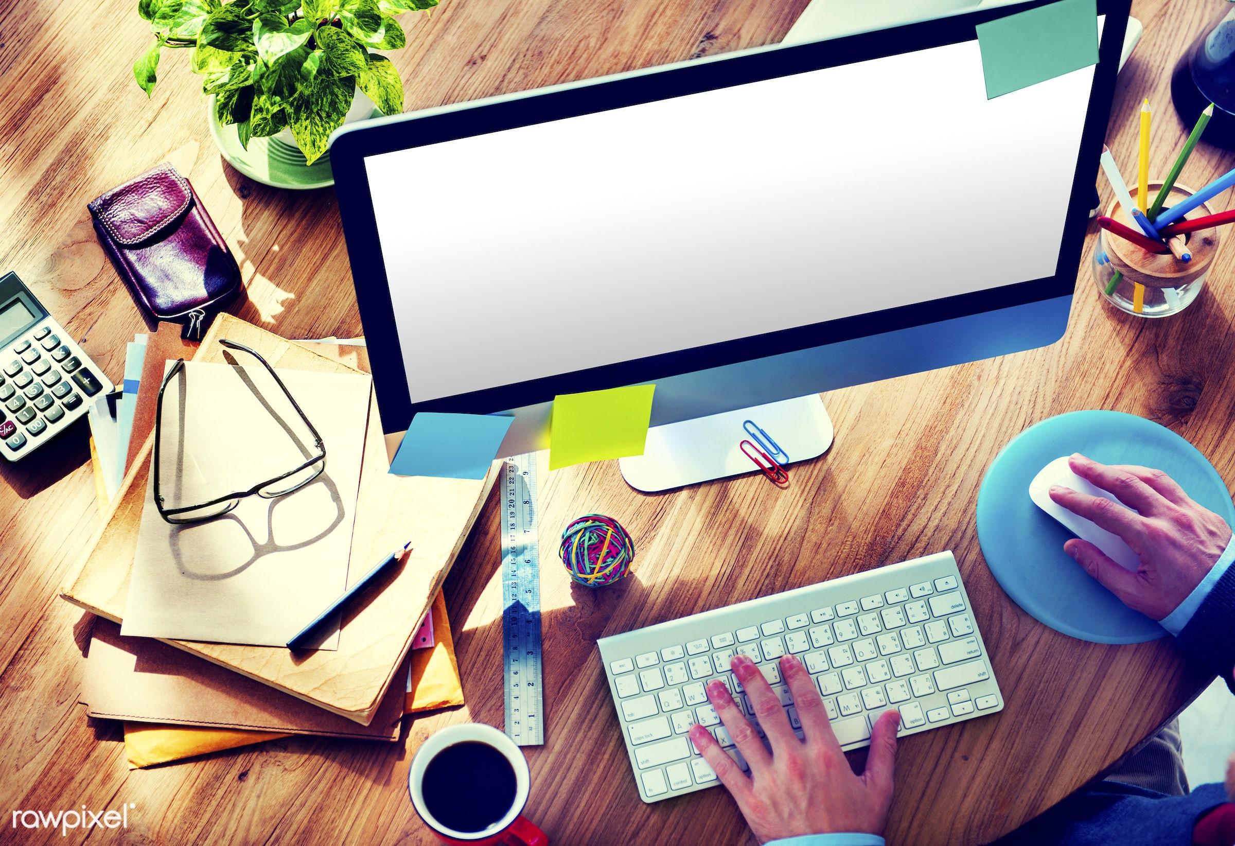 computer monitor, analysing, blank, browsing, business, businessman, college, computer, copy space, designer, desk, desktop...