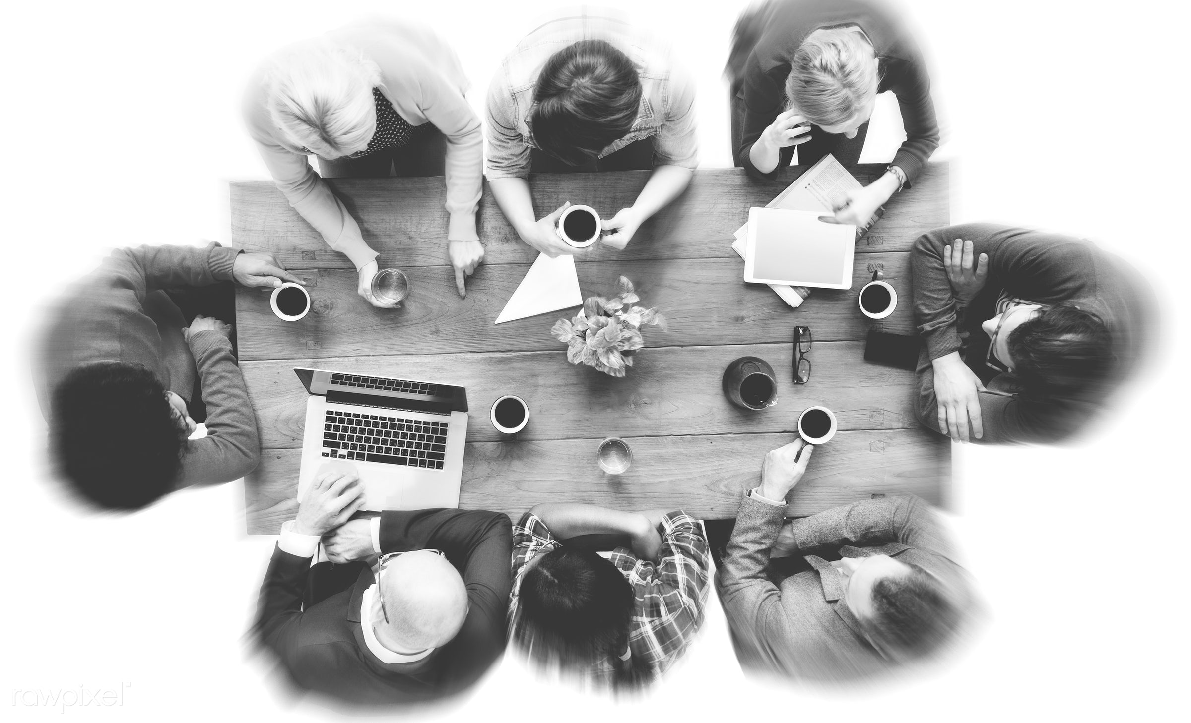 aerial view, african descent, asian ethnicity, brainstorm, brainstorming, casual, coffee, communication, computer network,...