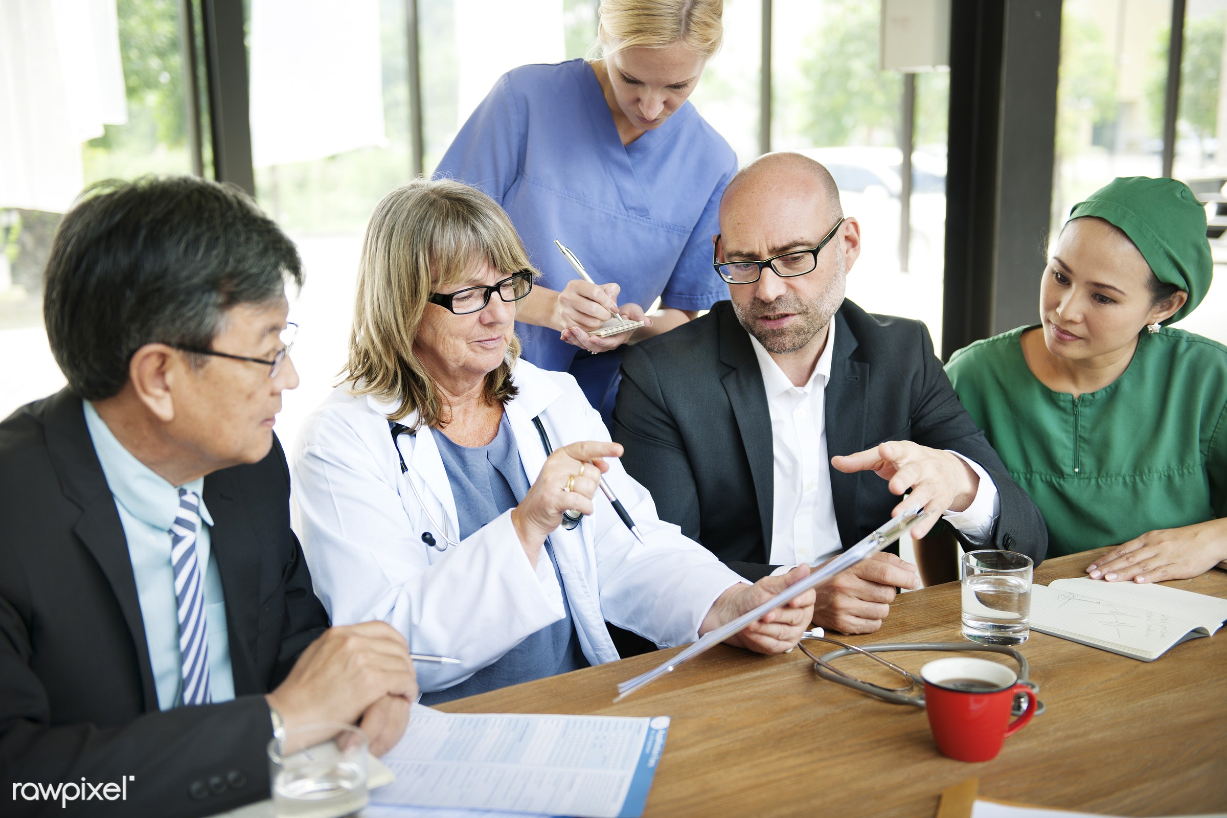 Group of medical people having a meeting - asian, colleagues, communication, conversation, discussion, diverse, doctor,...