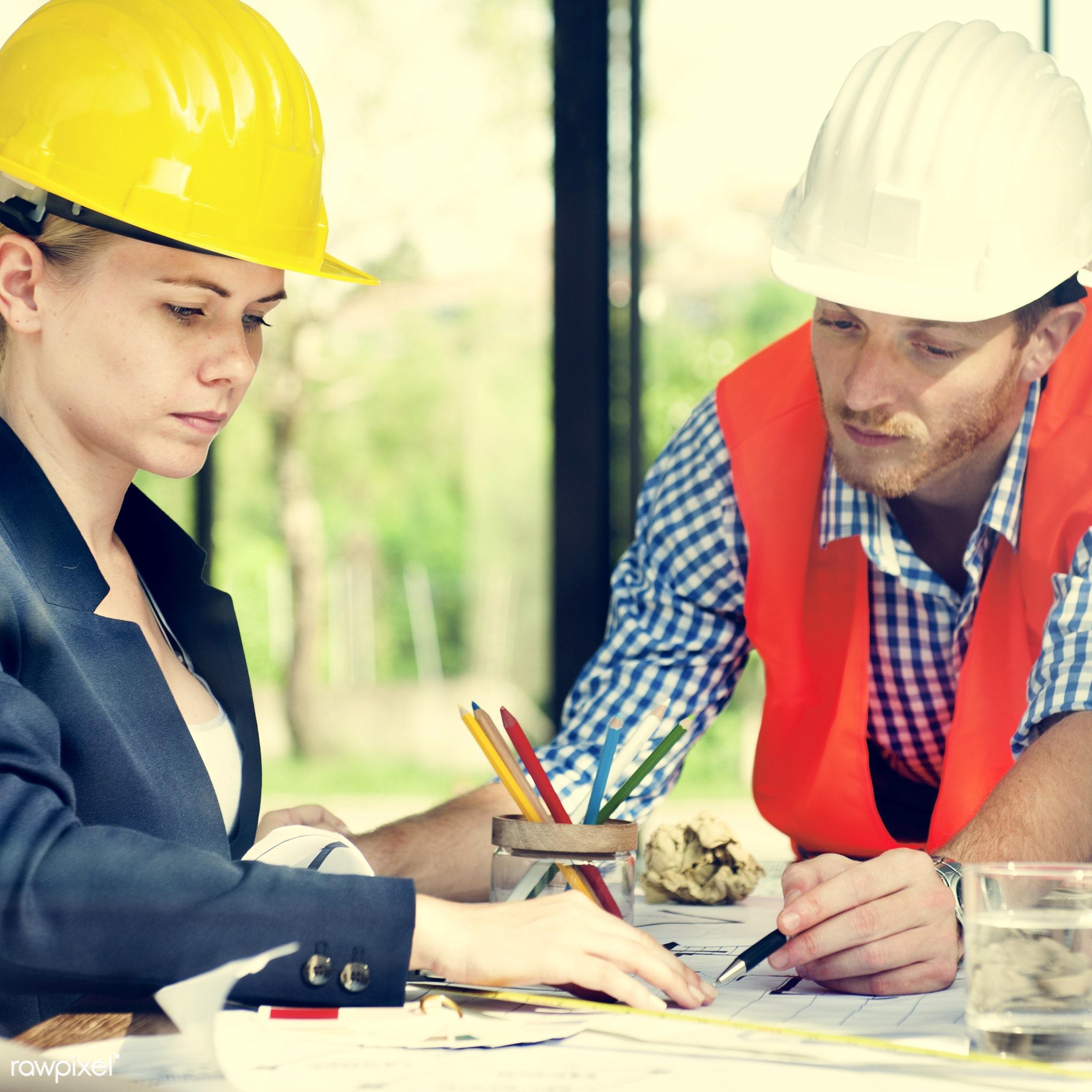 adult, architect, architecture, blueprint, brainstorming, business, businesswoman, communication, confidence, construction,...