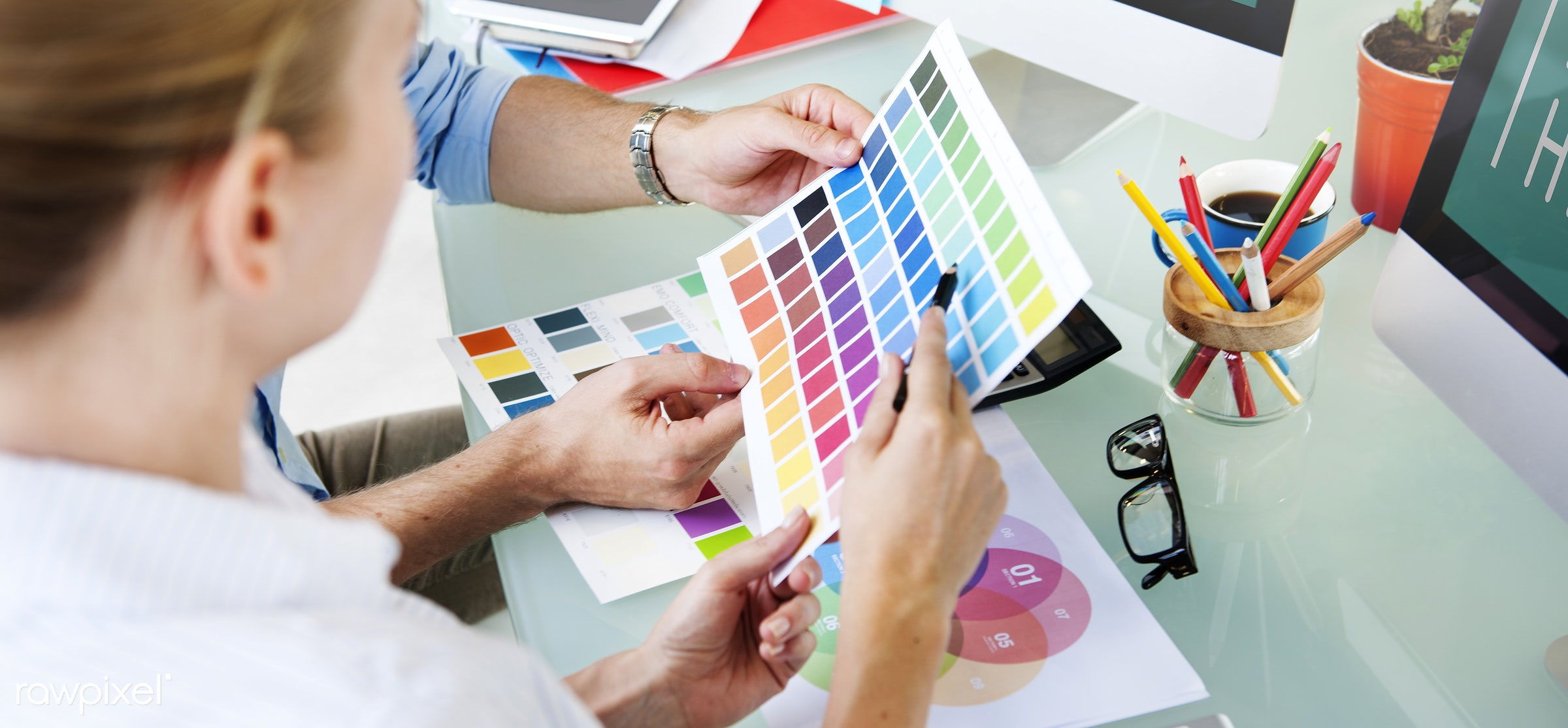 assistance, brainstorming, coffee, color swatch, communication, computer, connection, creative occupation, creativity,...