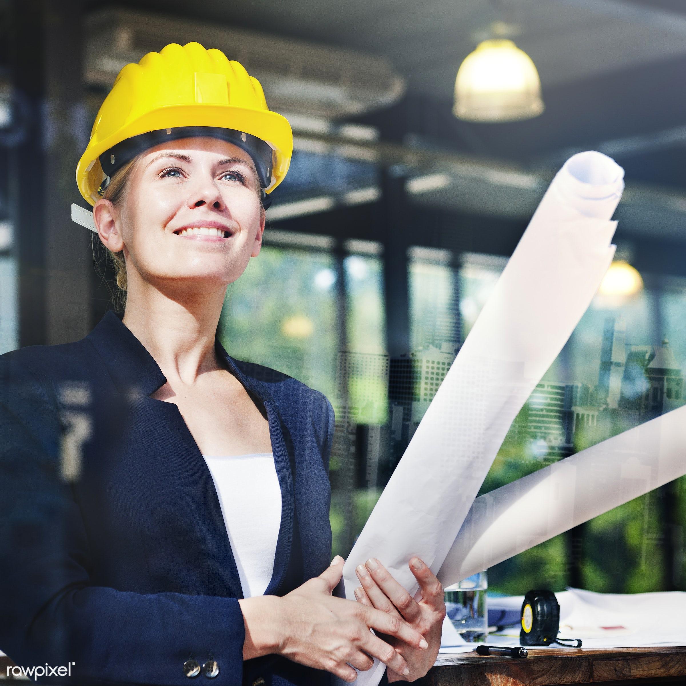 adult, architect, beautiful, blueprint, boss, business, businesswoman, career, caucasian, cheering, confident, construction...