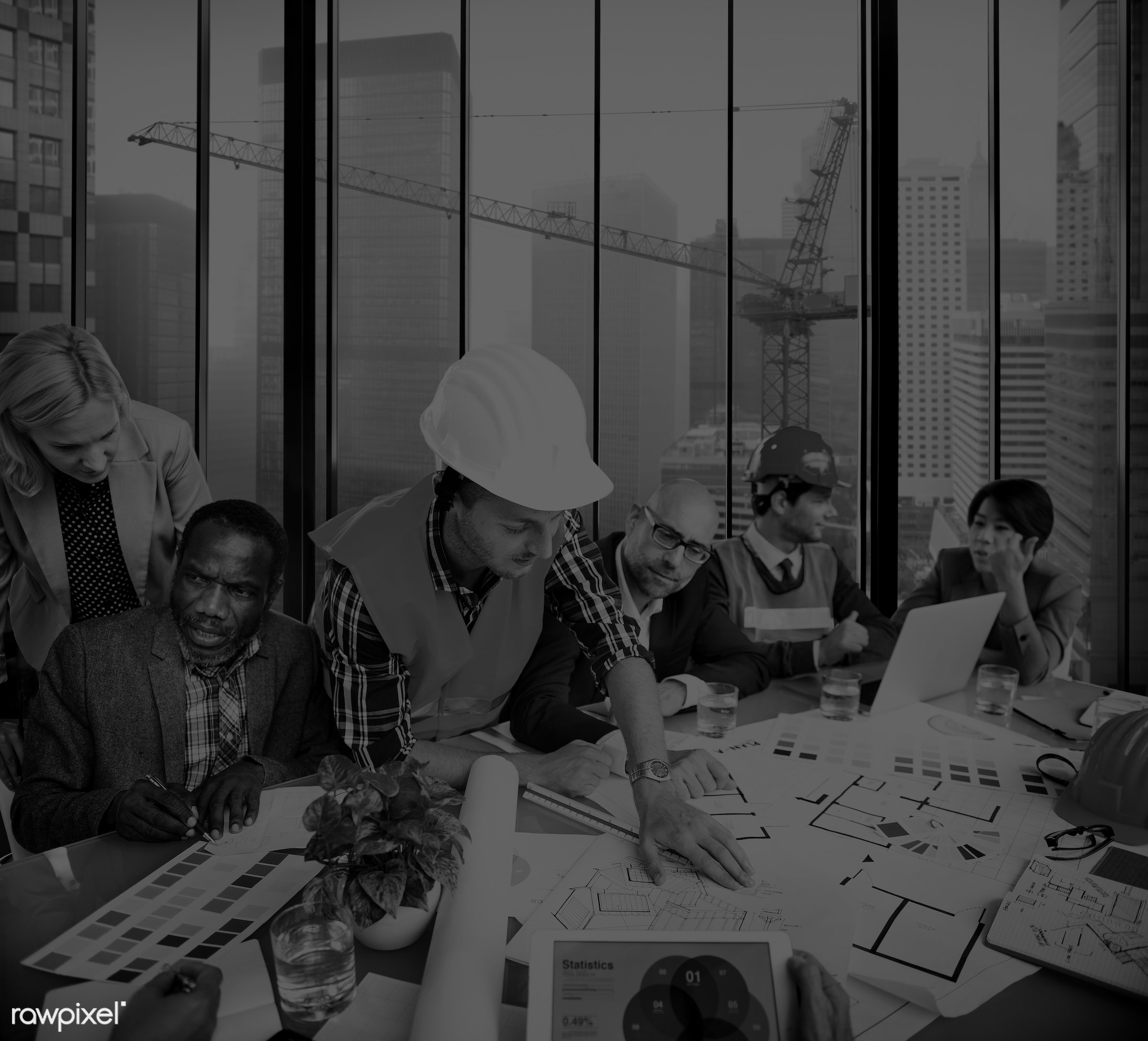 african, african descent, architect, asian, asian ethnicity, blueprint, brainstorming, business, business people,...