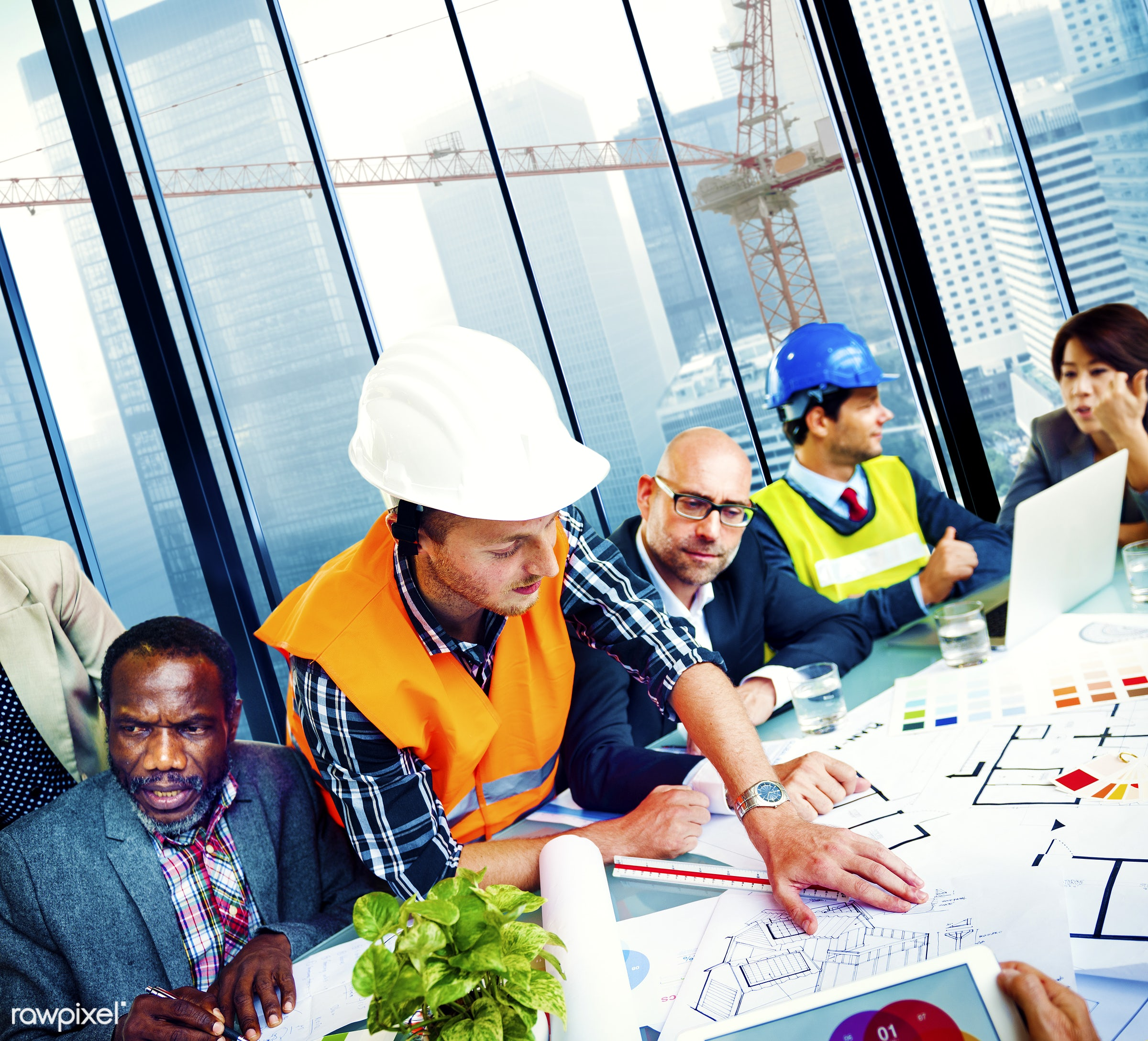 african descent, analysing, analysis, architect, asian ethnicity, brainstorming, business, business people, businessmen,...