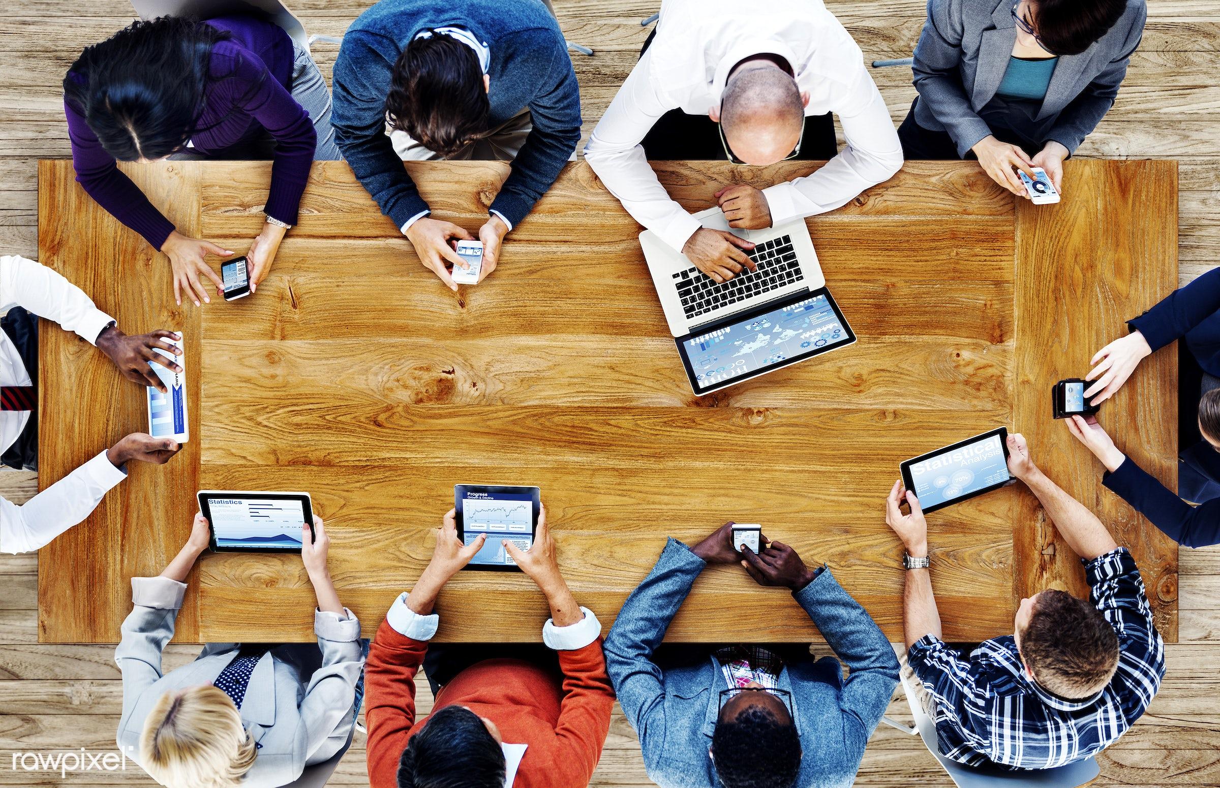 aerial view, african descent, asian ethnicity, business, businessmen, businesswomen, career, communication, computer,...