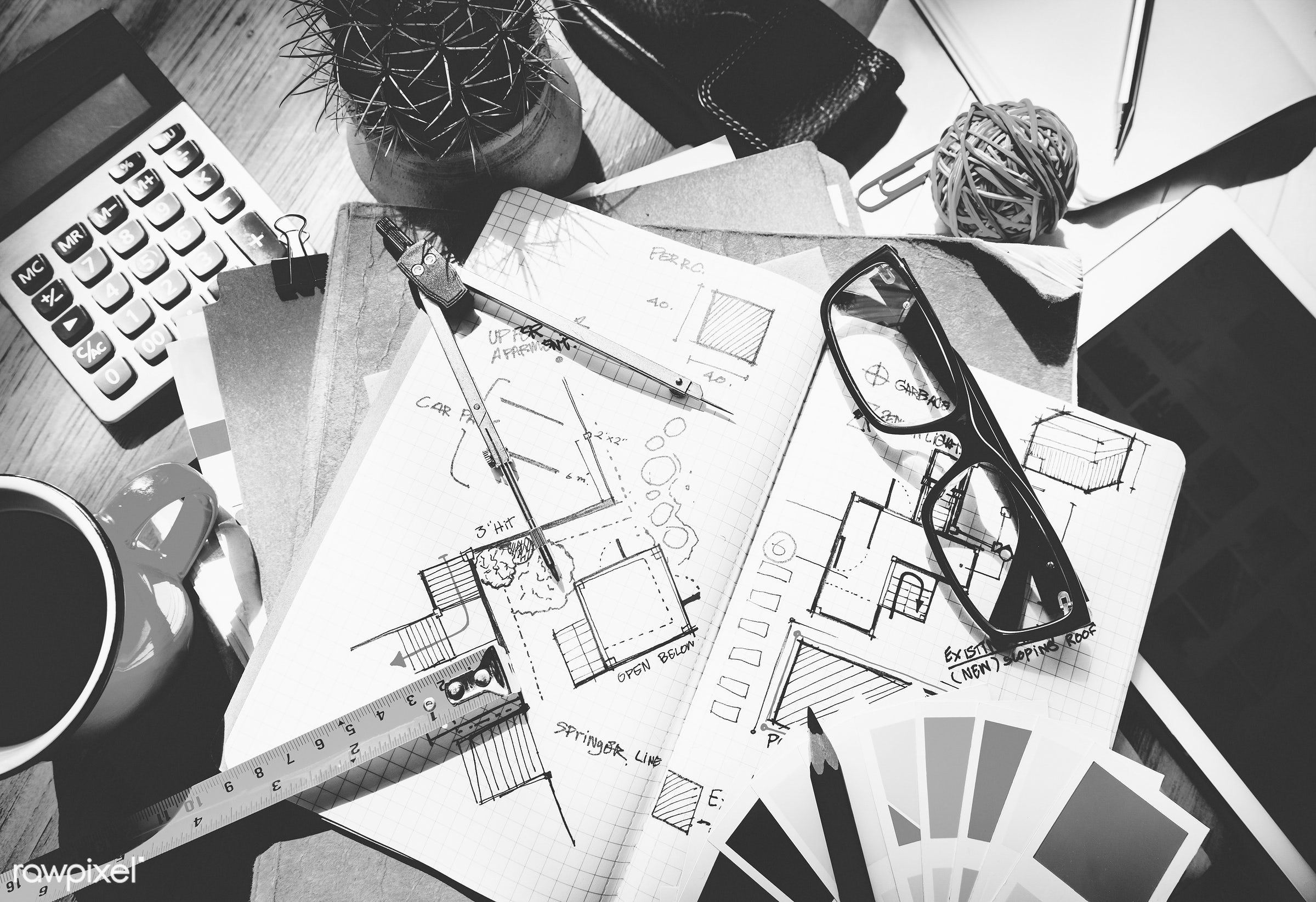 aerial, architecture, blue print, career, color swatch, design, drawing, engineering, equipment, notebook, notepad,...