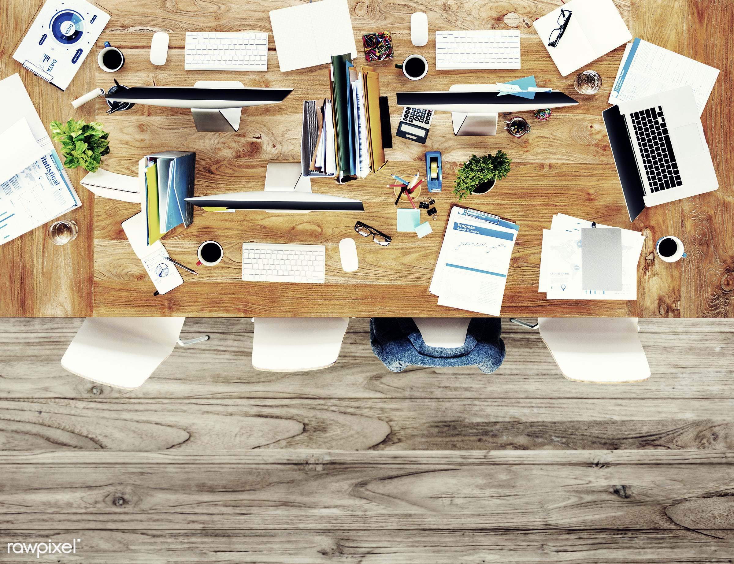 aerial view, business, computer, conference table, contemporary, desk, desktop pc, devices, documents, equipments, group,...
