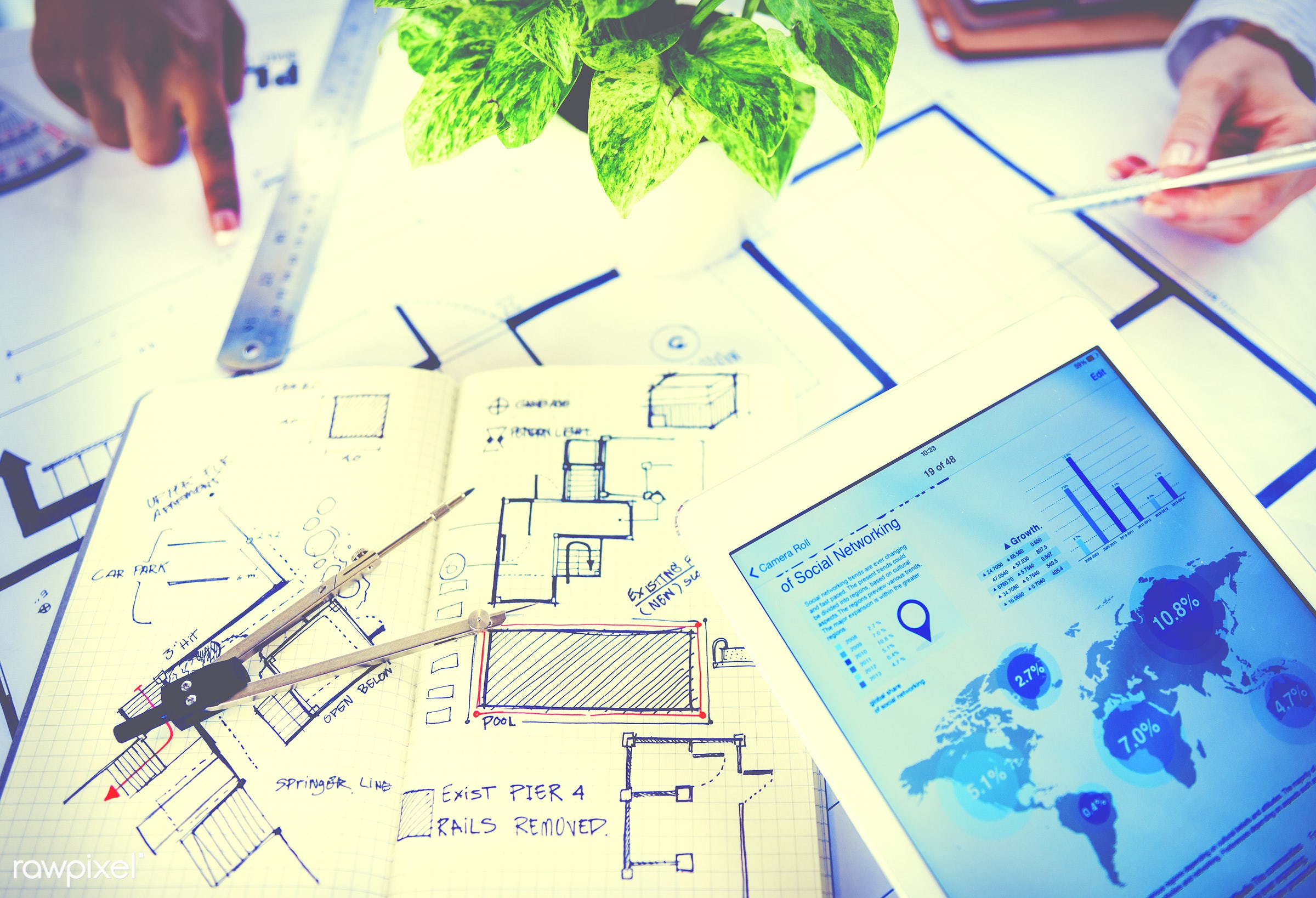 adhesive note, aerial view, architect, architecture, blue print, business, connection, construction, constructive, data,...