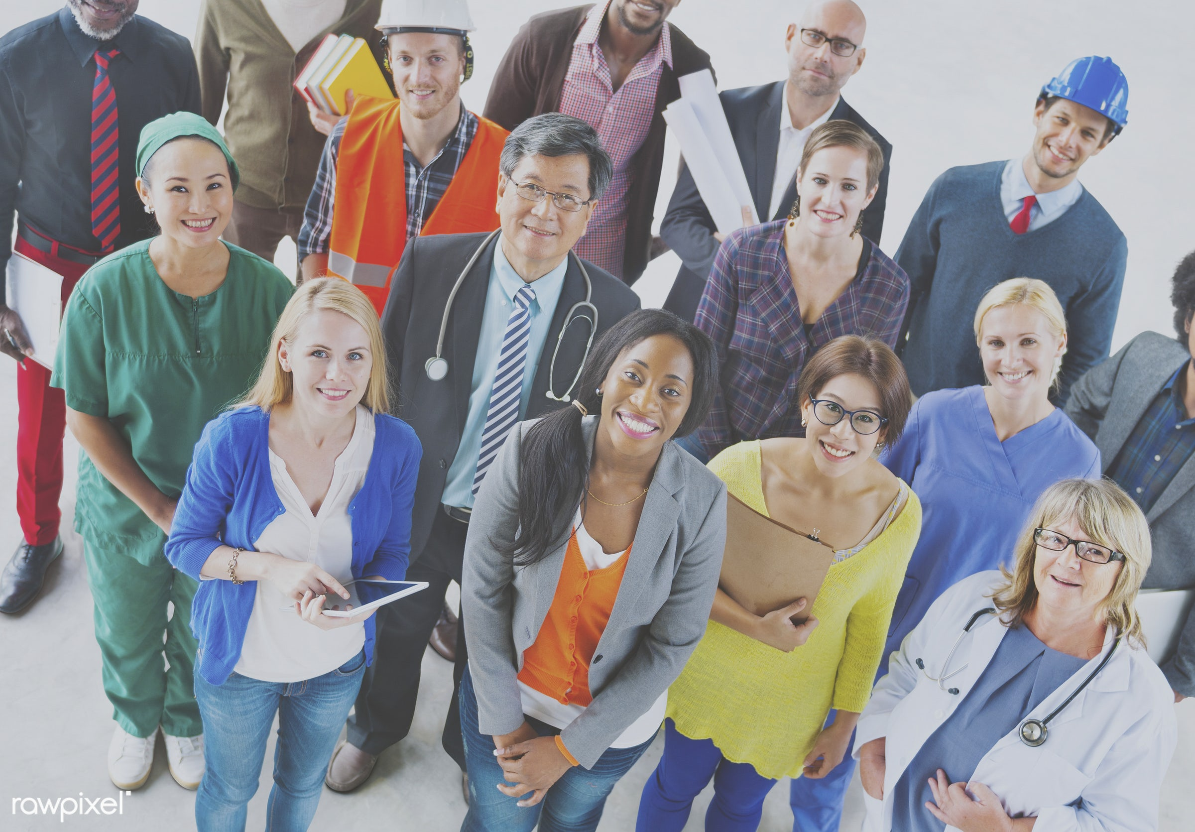 Group of diverse occupation people - adult, african american, african descent, architecture, asian, black, business,...