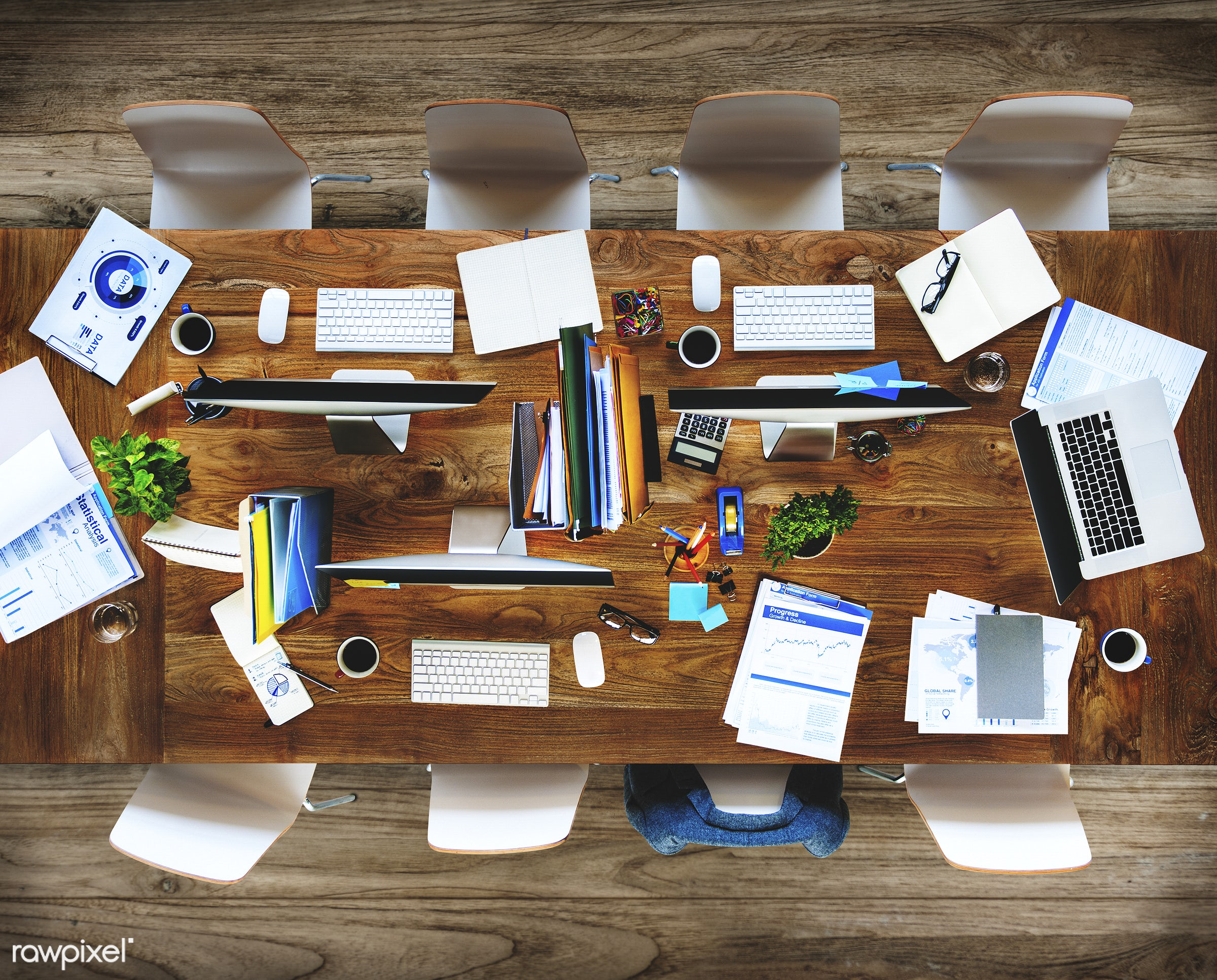 Contemporary Office Desk Computers Office Tools Concept - aerial, business, communication, computer, connection, global...