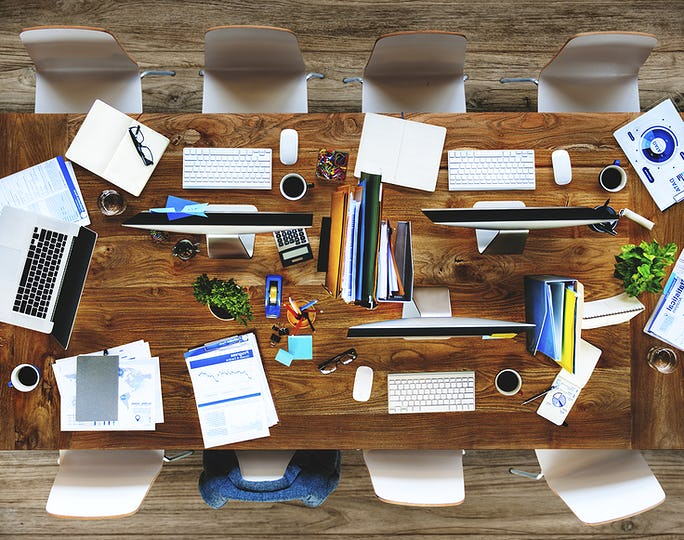 Messy Contemporary Interior Office No People Concept