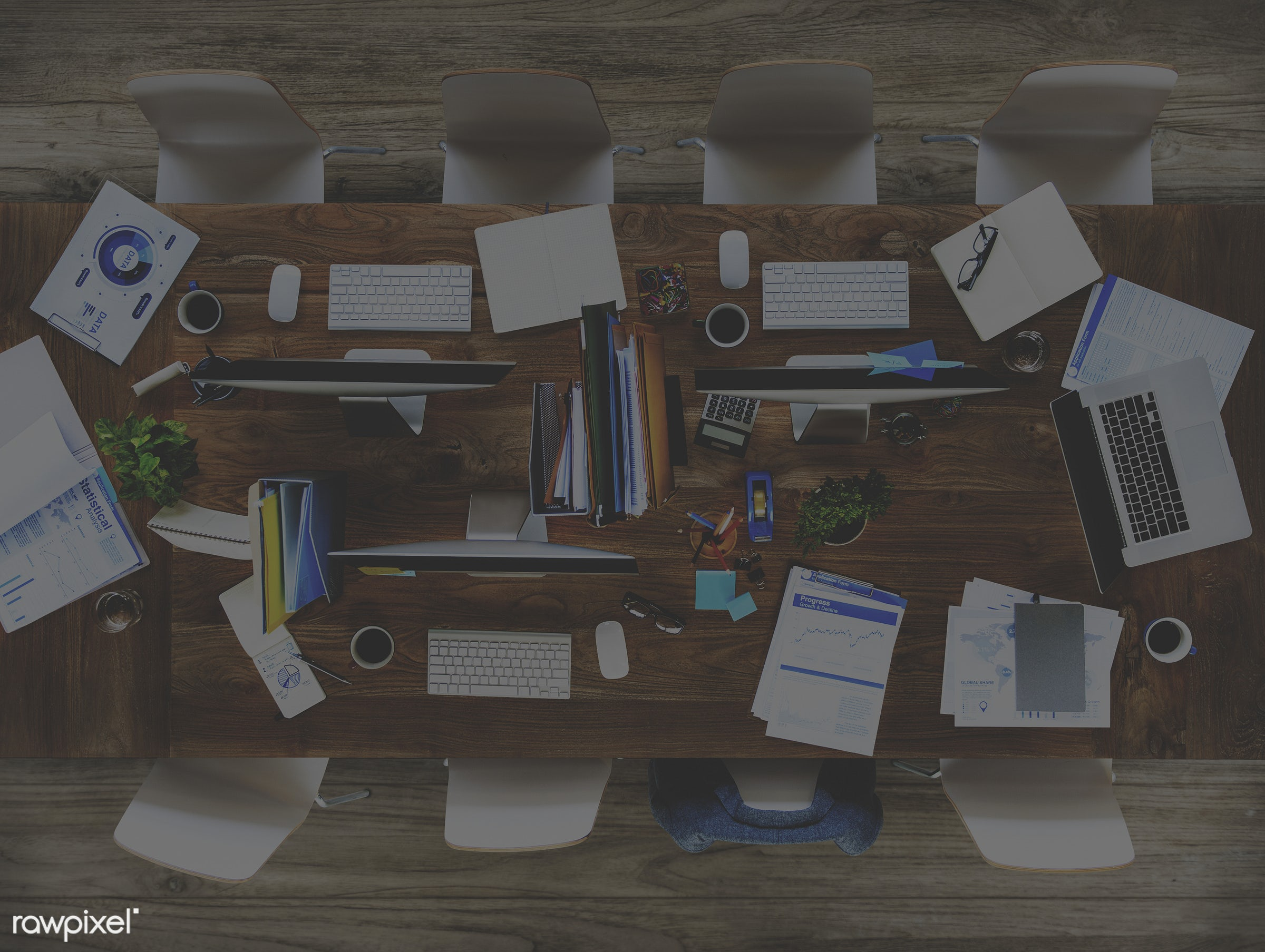 aerial view, board room, business, busy, computer, conference table, contemporary, data, desk, desktop pc, devices,...