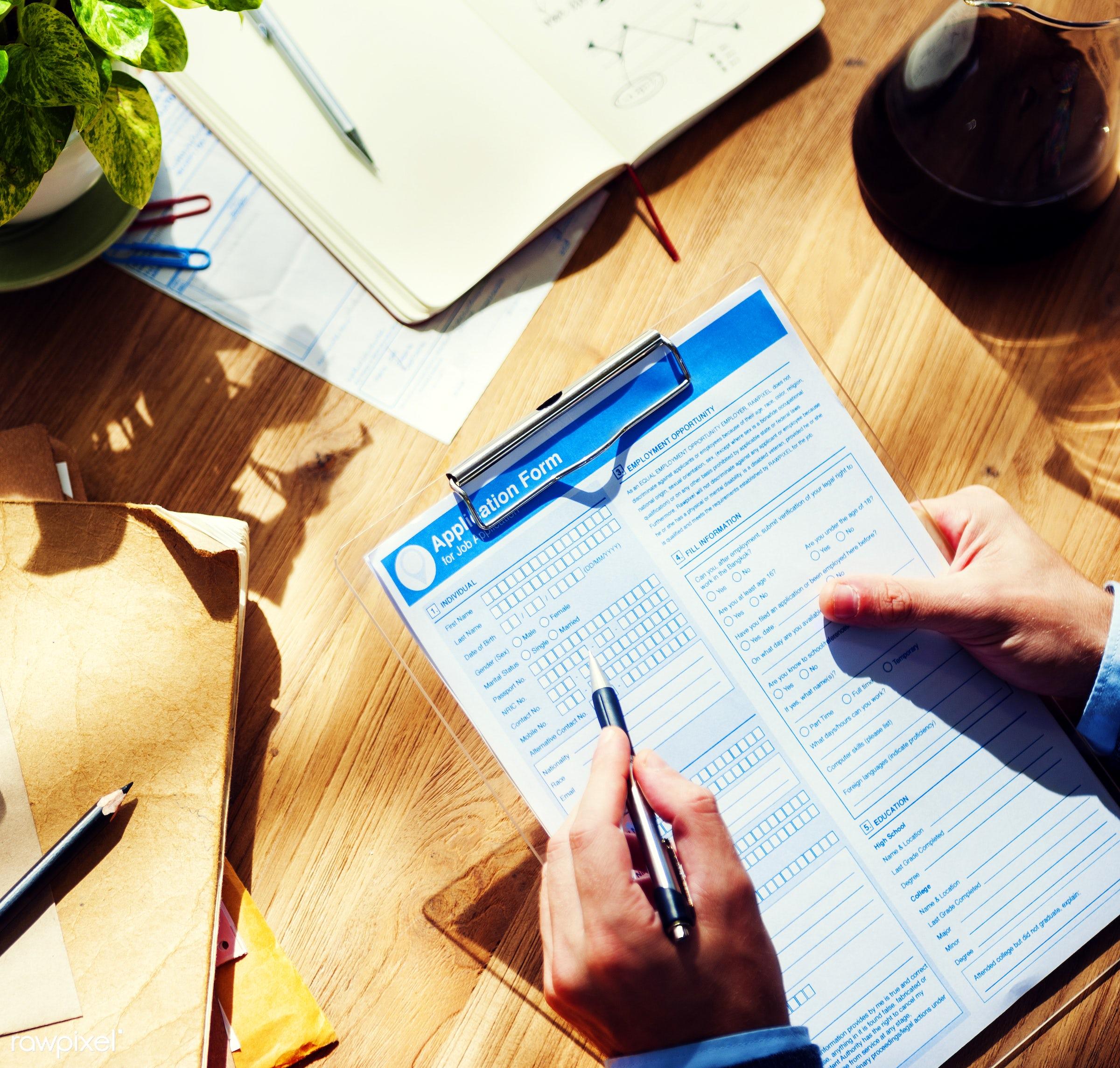 contemporary, holding, applicant, application, application form, applying, business, calendar, corporate, desk, desktop,...
