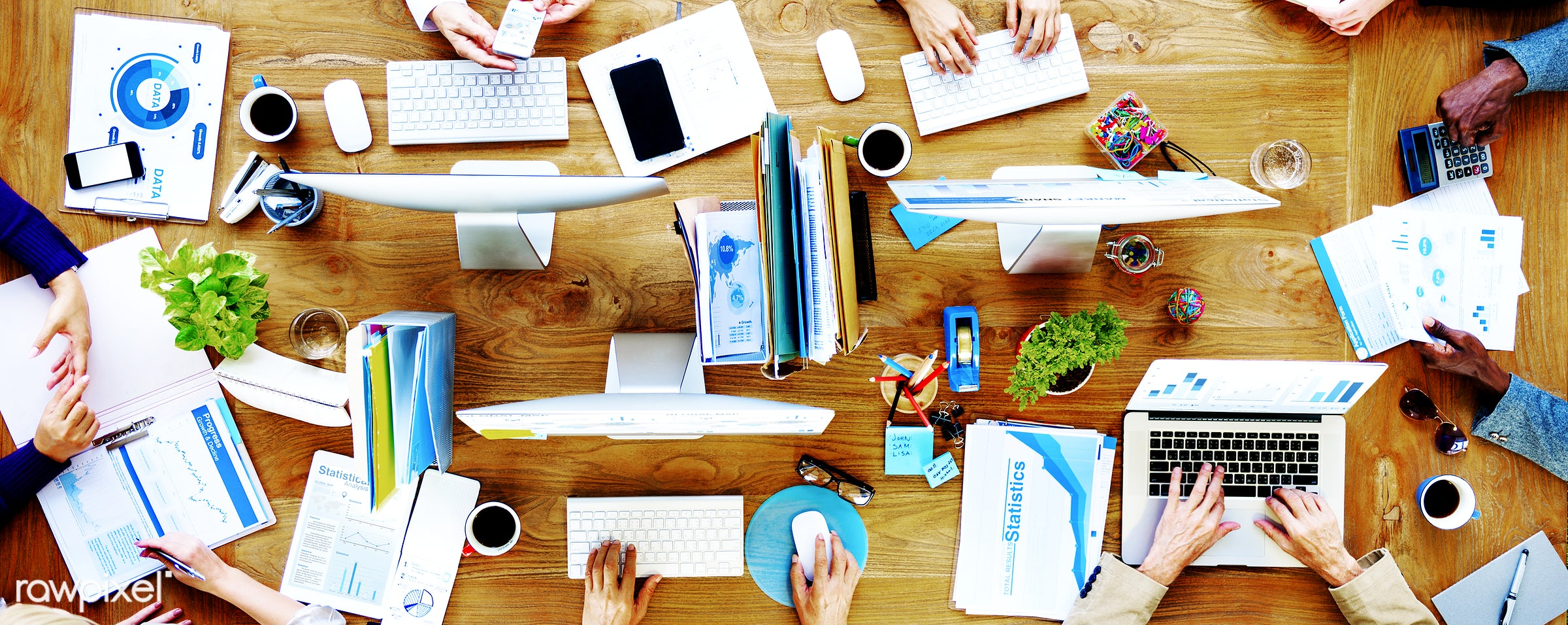 aerial view, brainstorming, business, business people, businessmen, businesswomen, communication, company, computer,...