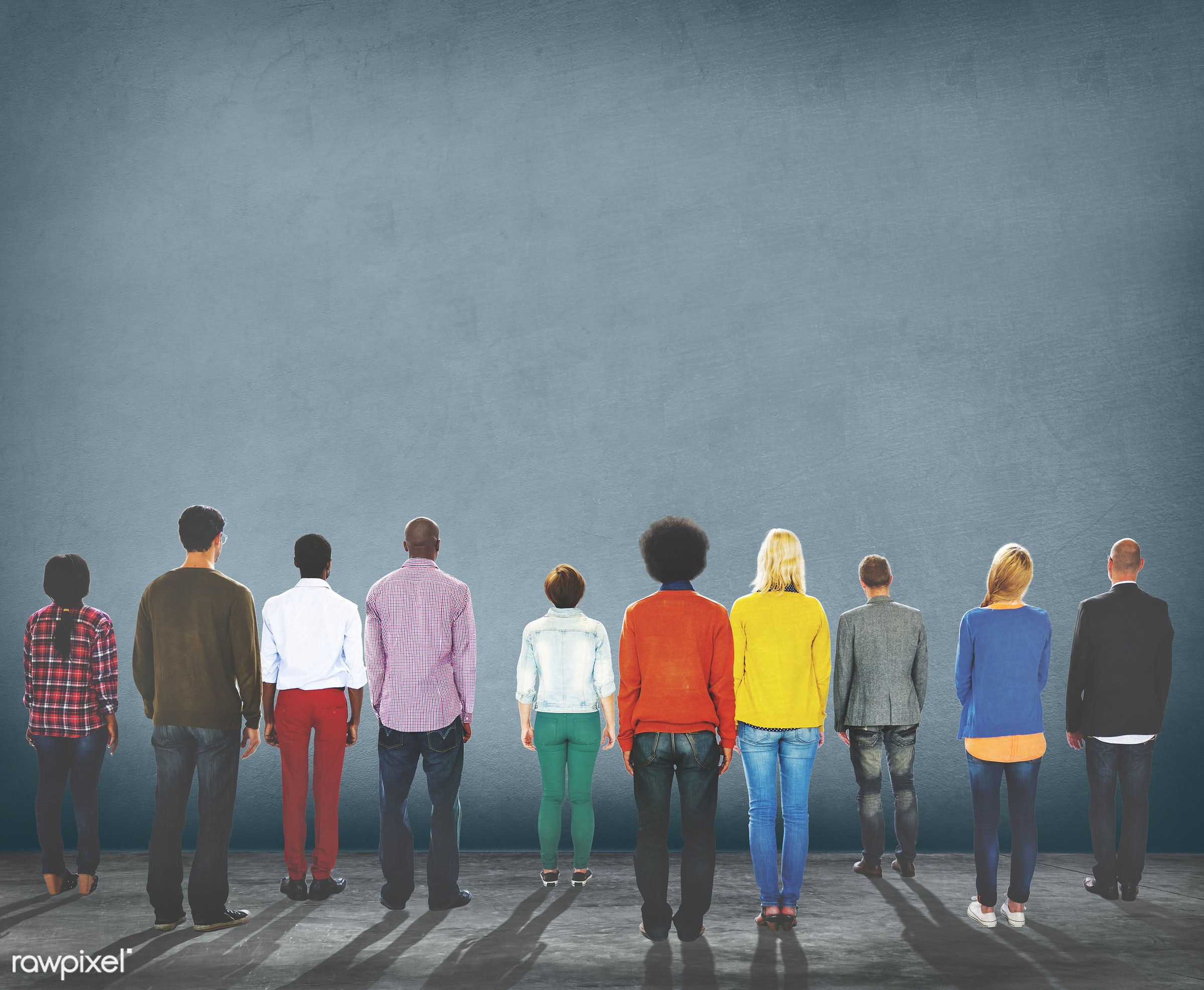 african descent, aspiration, backgrounds, backside, casual, cement, colorful, copy space, diverse, diversity, ethnicity,...