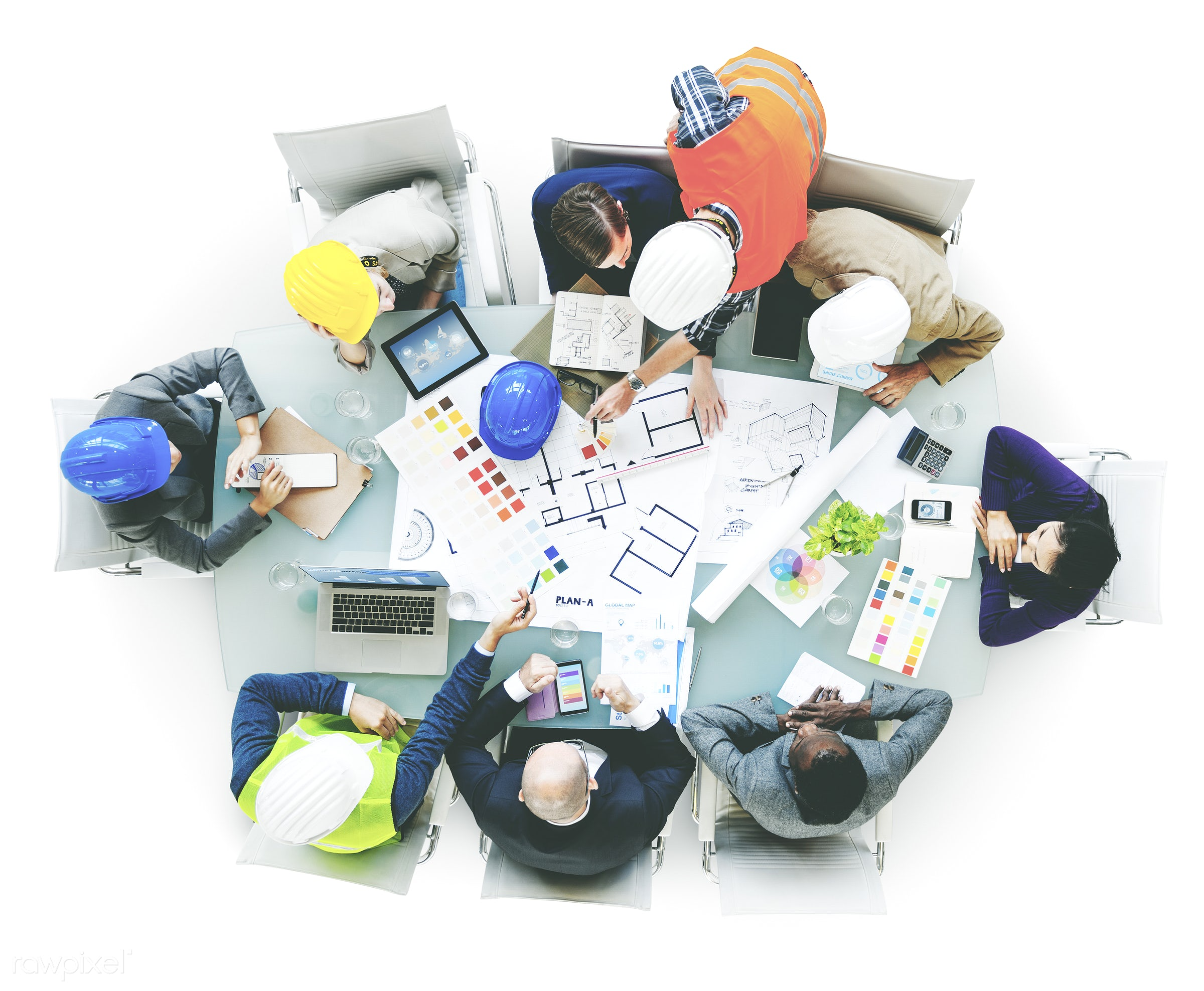 aerial view, african descent, architect, architecture, asian ethnicity, blueprint, brainstorm, brainstorming, business,...