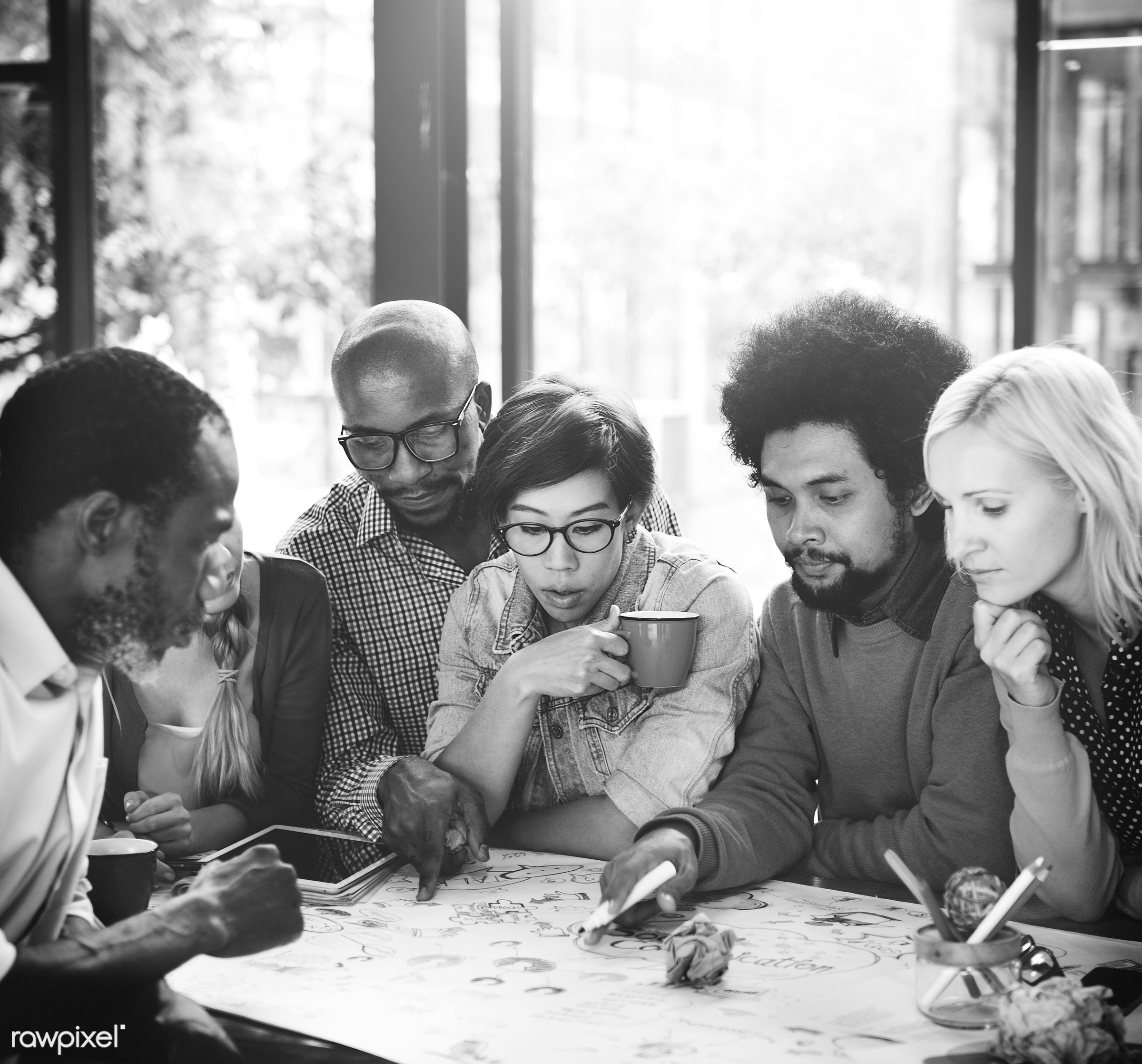 adult, african descent, asian ethnicity, brainstorming, break, cafe, cheerful, coffee, coffee break, collaboration,...