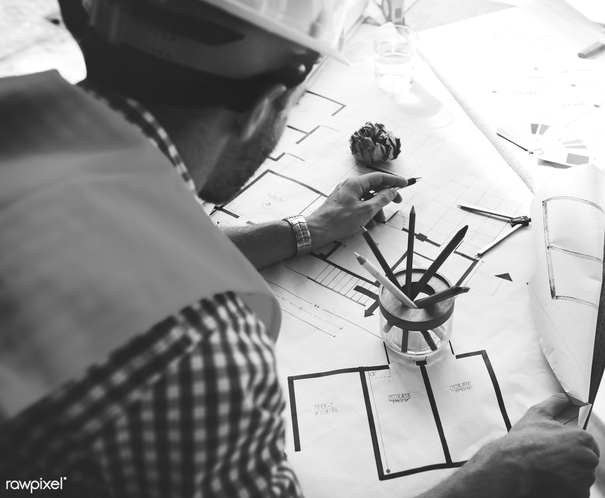 architect, blueprint, brainstorming, business, busy, construction, construction worker, creativity, design, draft, drawing,...