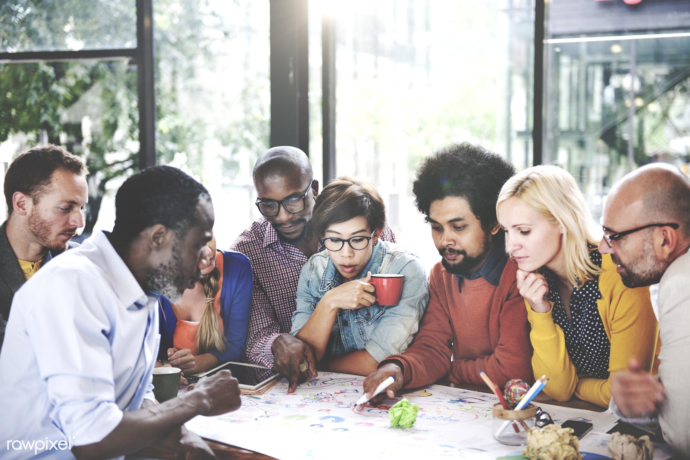 achievement, african descent, asian ethnicity, brainstorming, business people, businessmen, businesswomen, casual, cheerful...