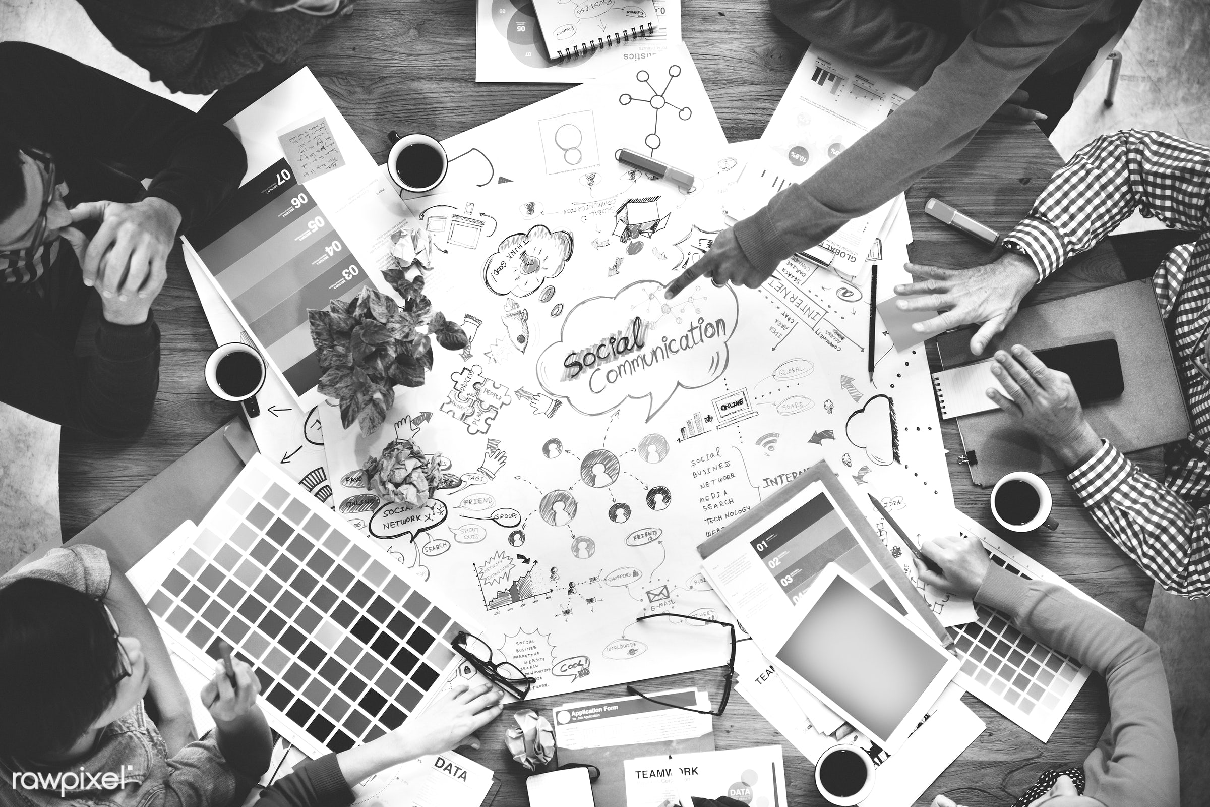 aerial view, brainstorming, business, color swatch, colorful, communication, connection, corporate, creative occupation,...