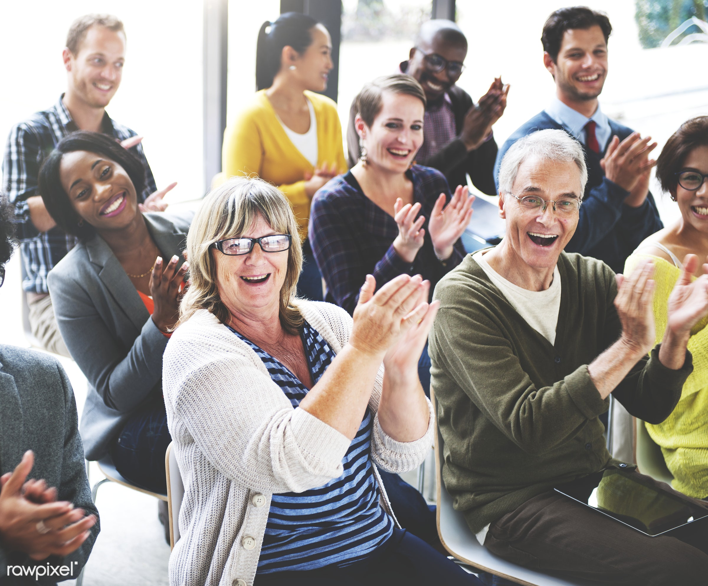 Group of diverse people in a seminar - achievement, applause, appreciation, audience, award, celebration, cheerful, cheering...