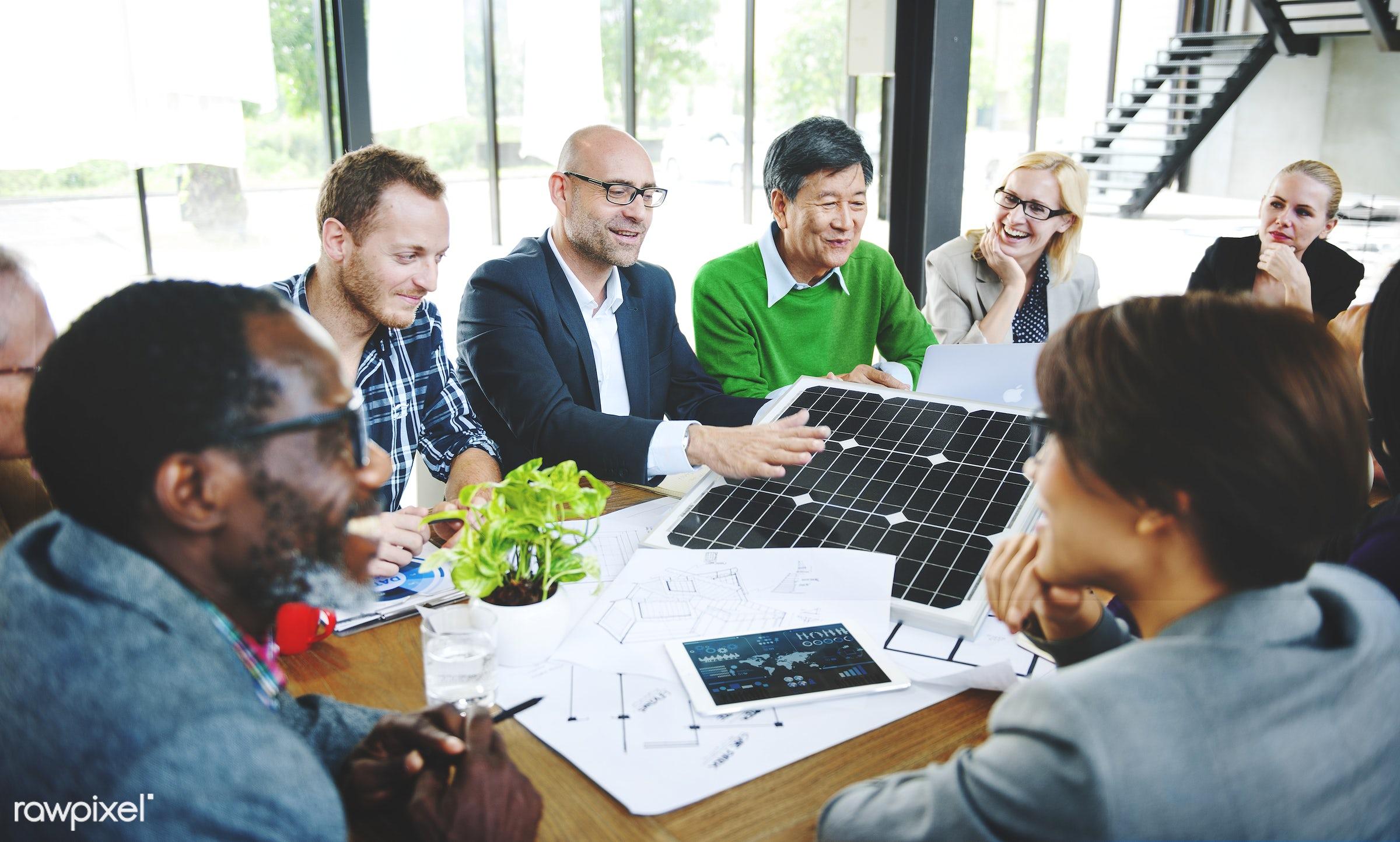 Business People Discussion Solar Power Energy Concept - architecture, brainstorm, business, construction, design, diverse,...
