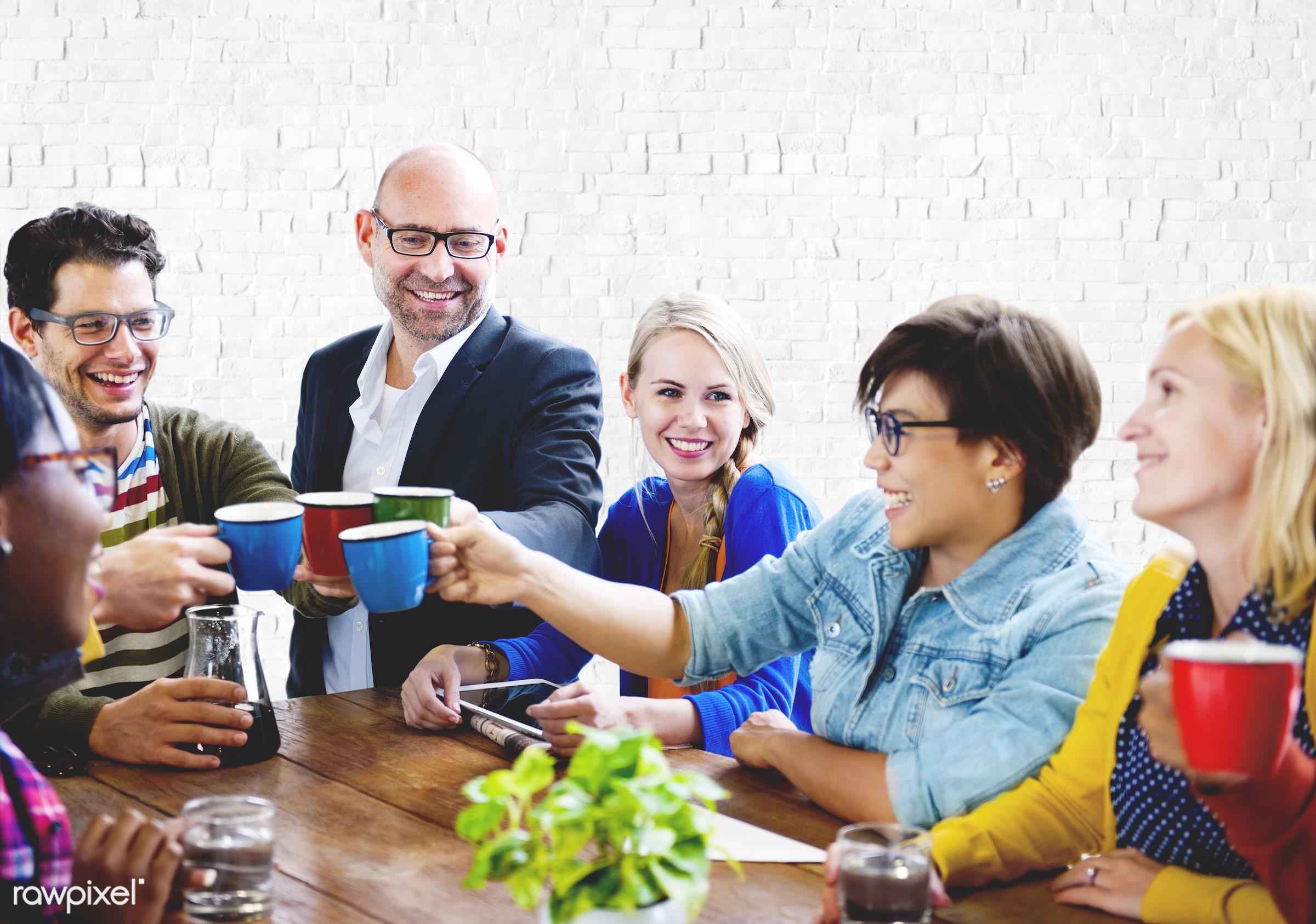 african descent, asian ethnicity, bonding, break, brick, cafe, casual, cheerful, coffee, coffee break, communication,...
