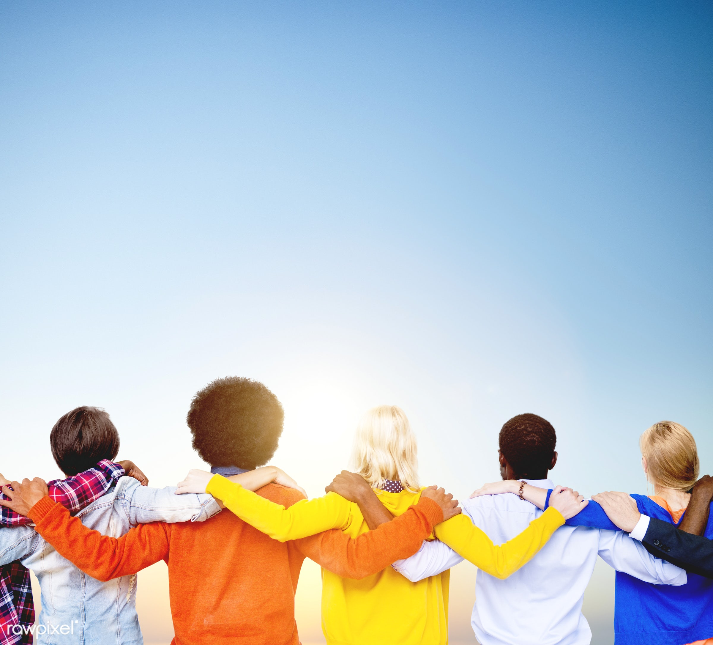 adult, african descent, arm around, back view, background, blue, casual, caucasian, cheerful, collaboration, colorful,...