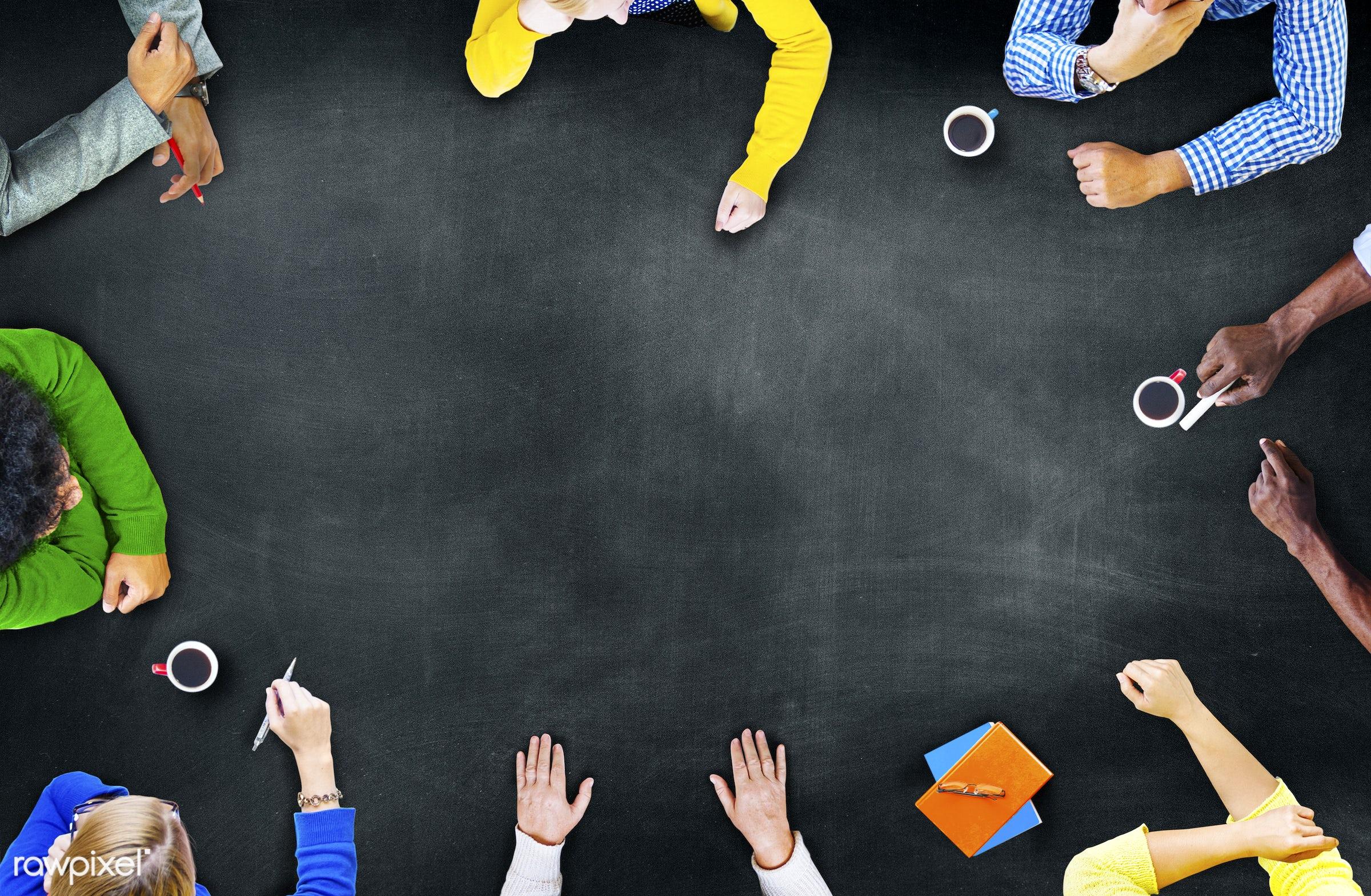 aerial view, blackboard, blank, board, brainstorm, brainstorming, businessmen, businesswomen, chalkboard, coffee, college,...