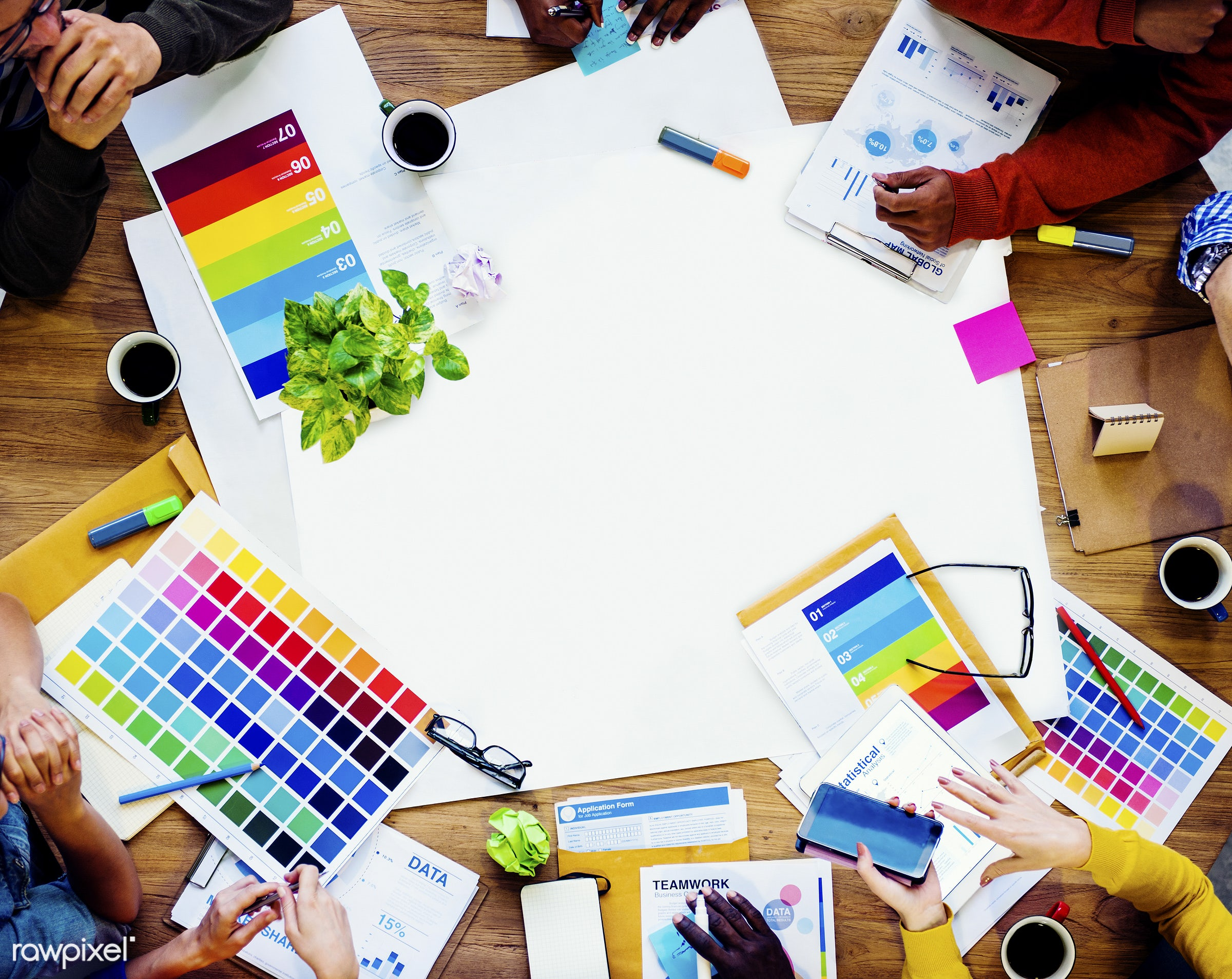 aerial view, african, african descent, blank, brainstorming, business, business people, collaboration, color swatch,...