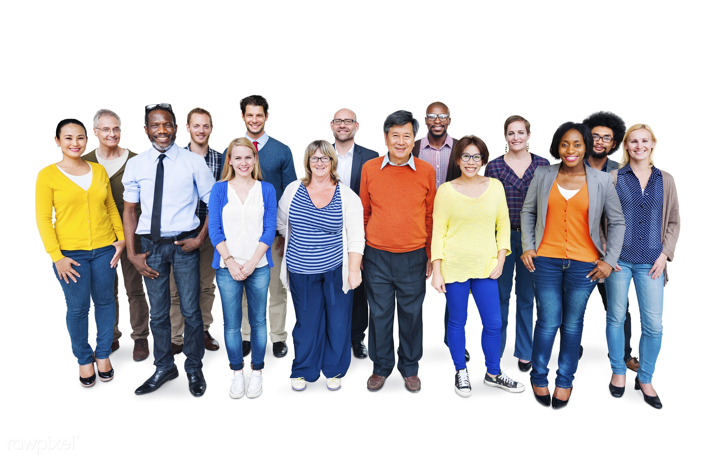 Group of diverse people standing together - african american, african descent, asian, black, casual, caucasian, cheerful,...