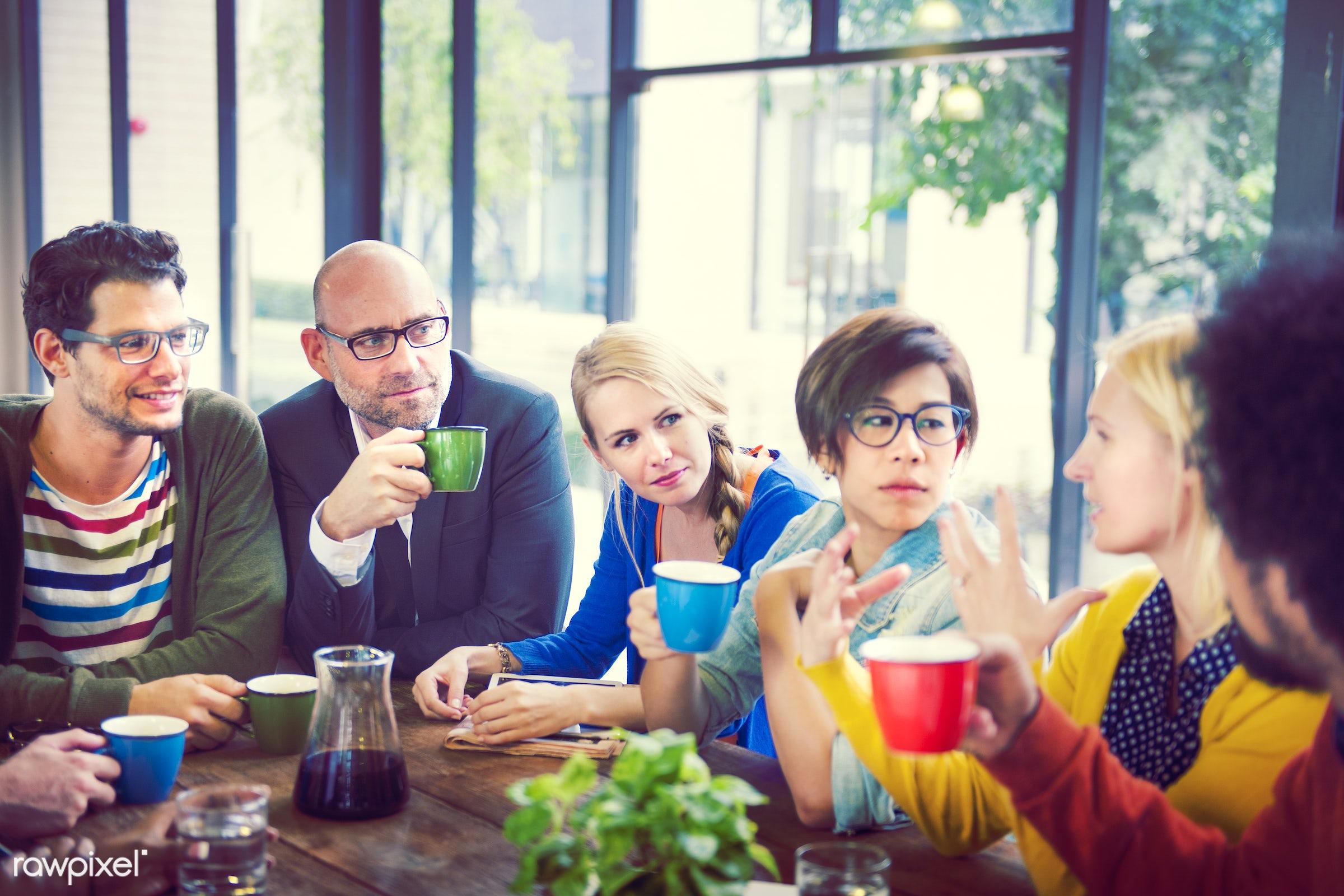 Group of People on Coffee Break - beverage, bonding, cafe, caucasian, cheerful, coffee, community, drink, friends,...